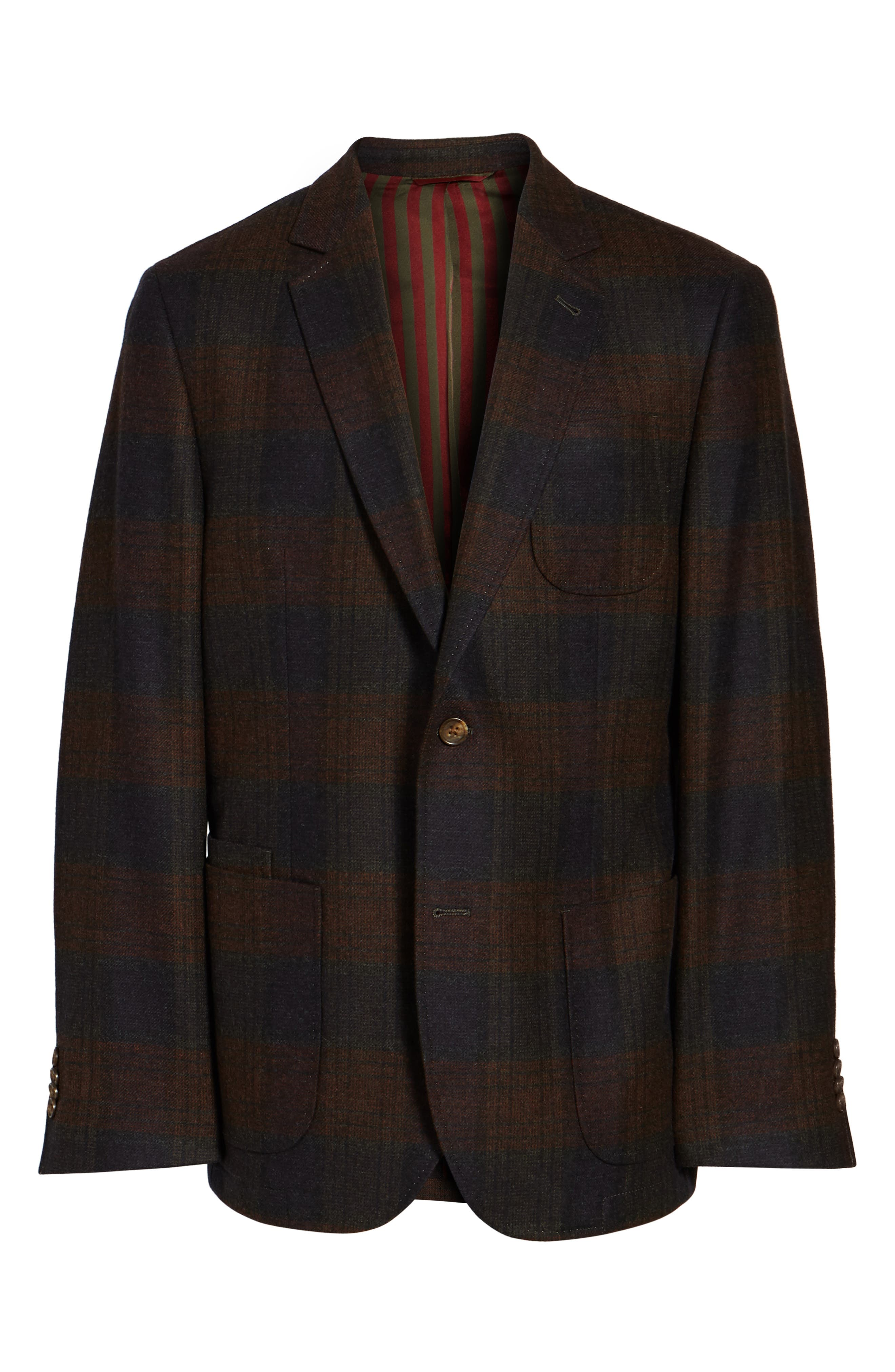 Plaid Wool Sport Coat,                             Alternate thumbnail 6, color,                             Charcoal