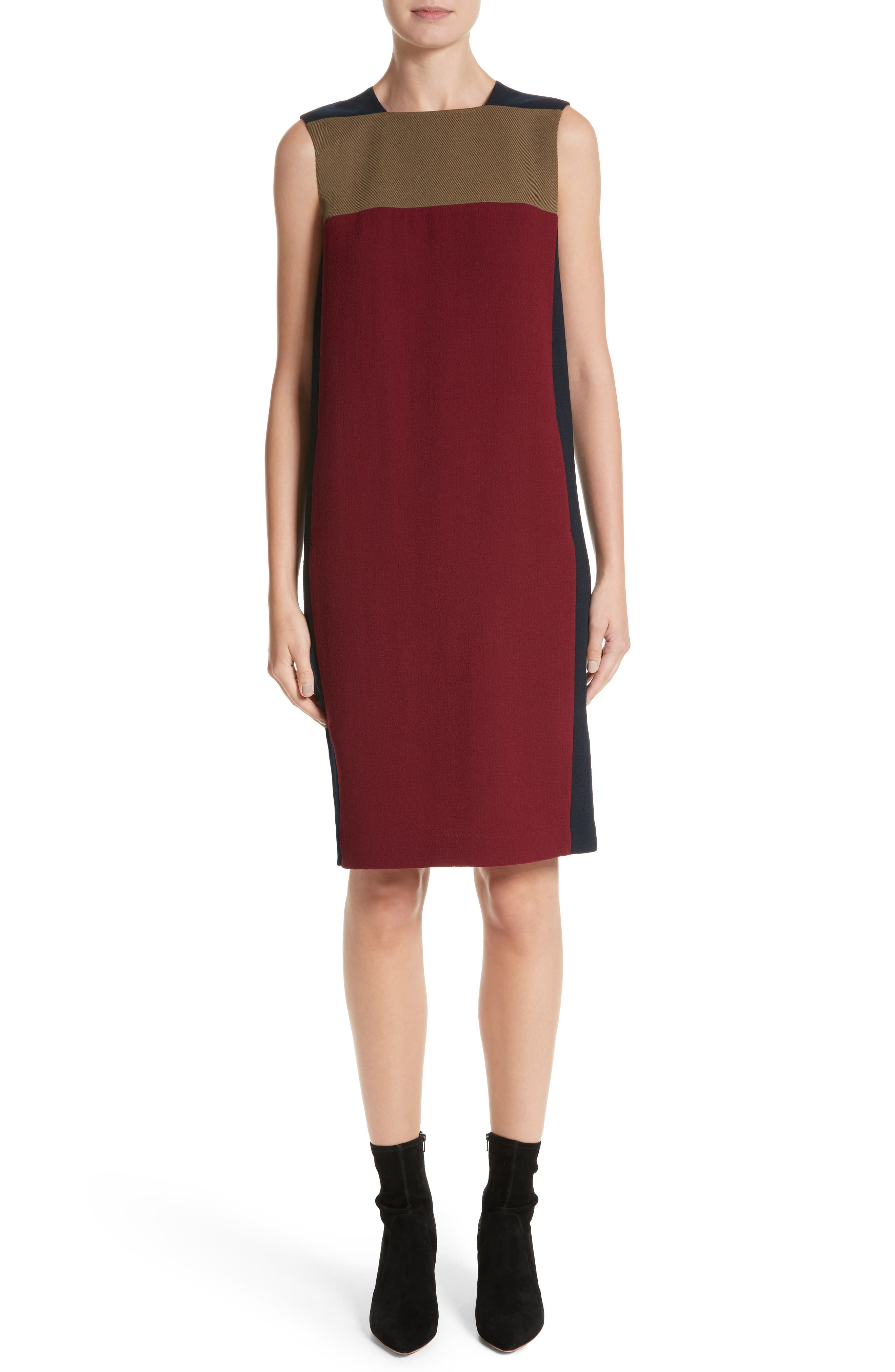 Zandra Colorblock Nouveau Crepe Dress,                         Main,                         color, Ink Multi