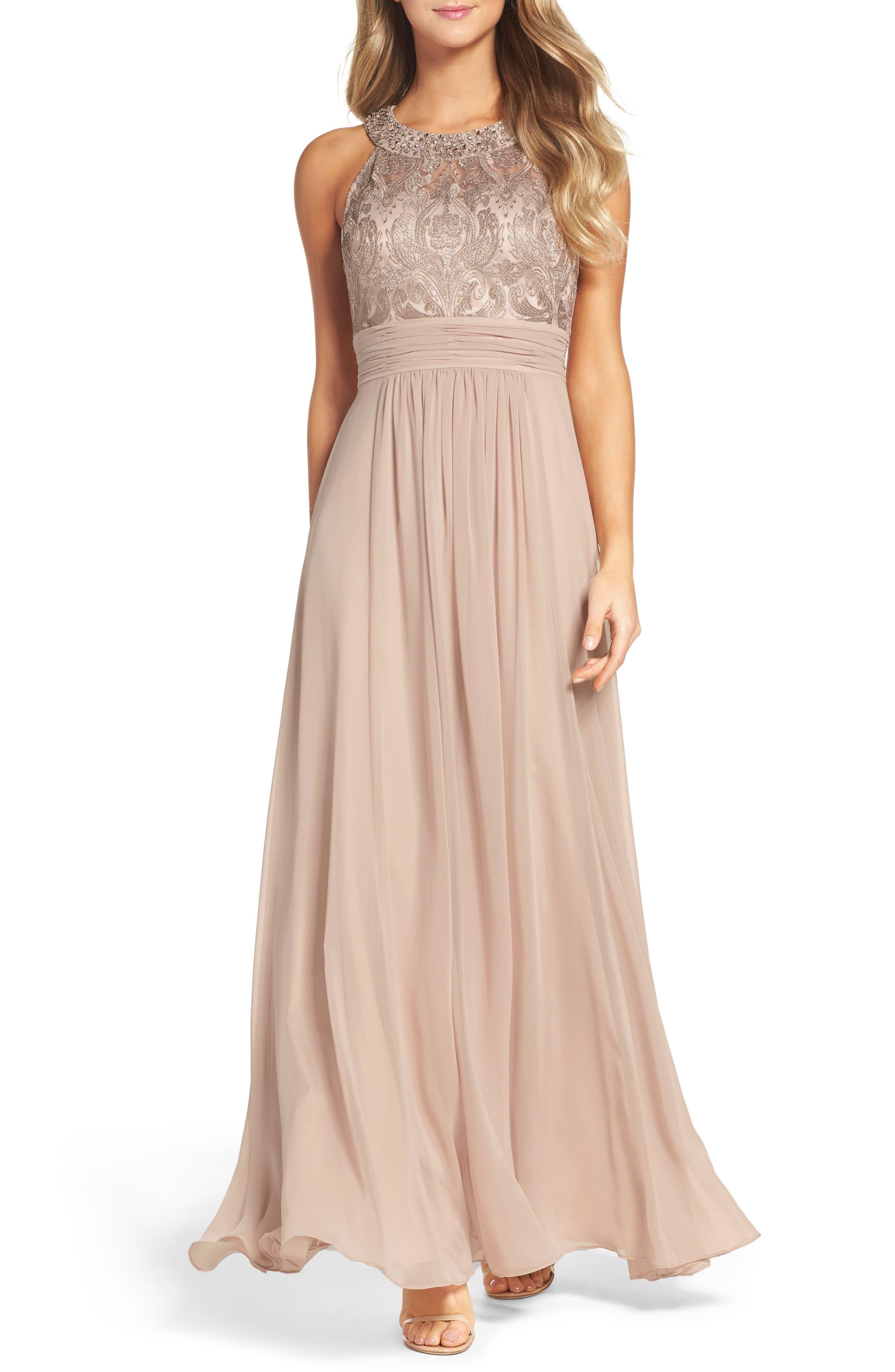 Lace Bodice Gown,                         Main,                         color, Beige