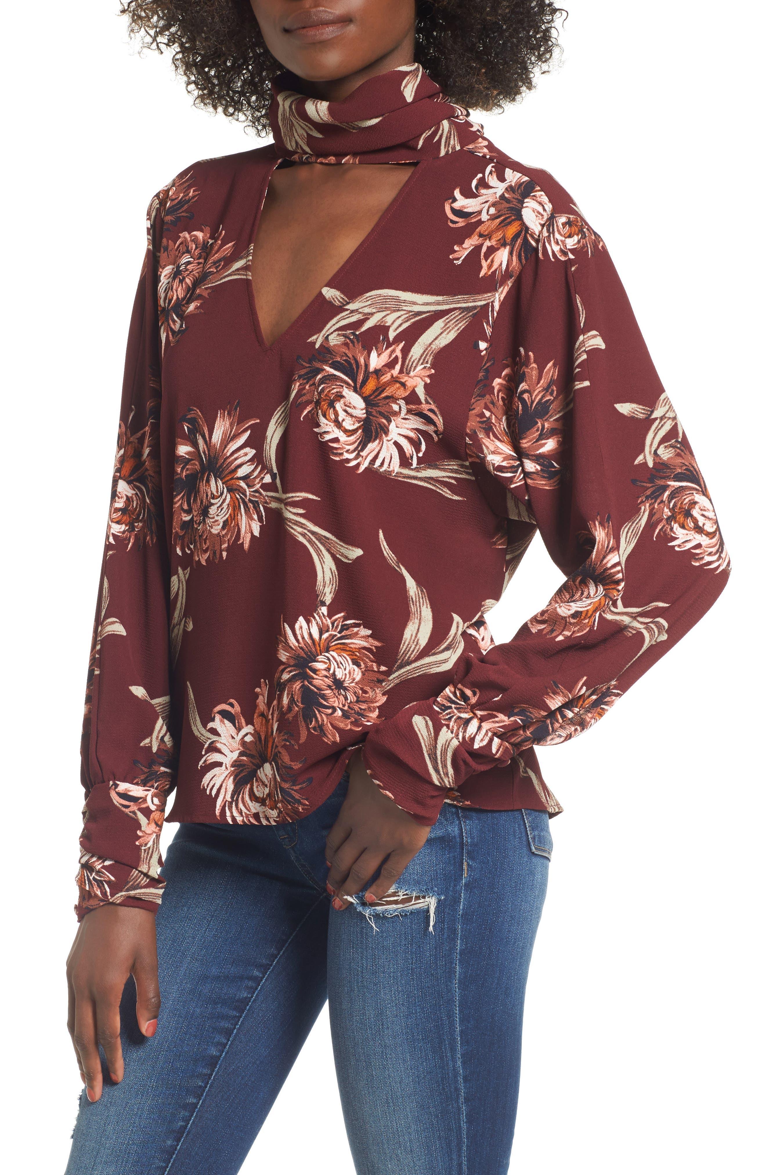 Floral Choker Blouse,                         Main,                         color, Red Tannin Nouveau Floral