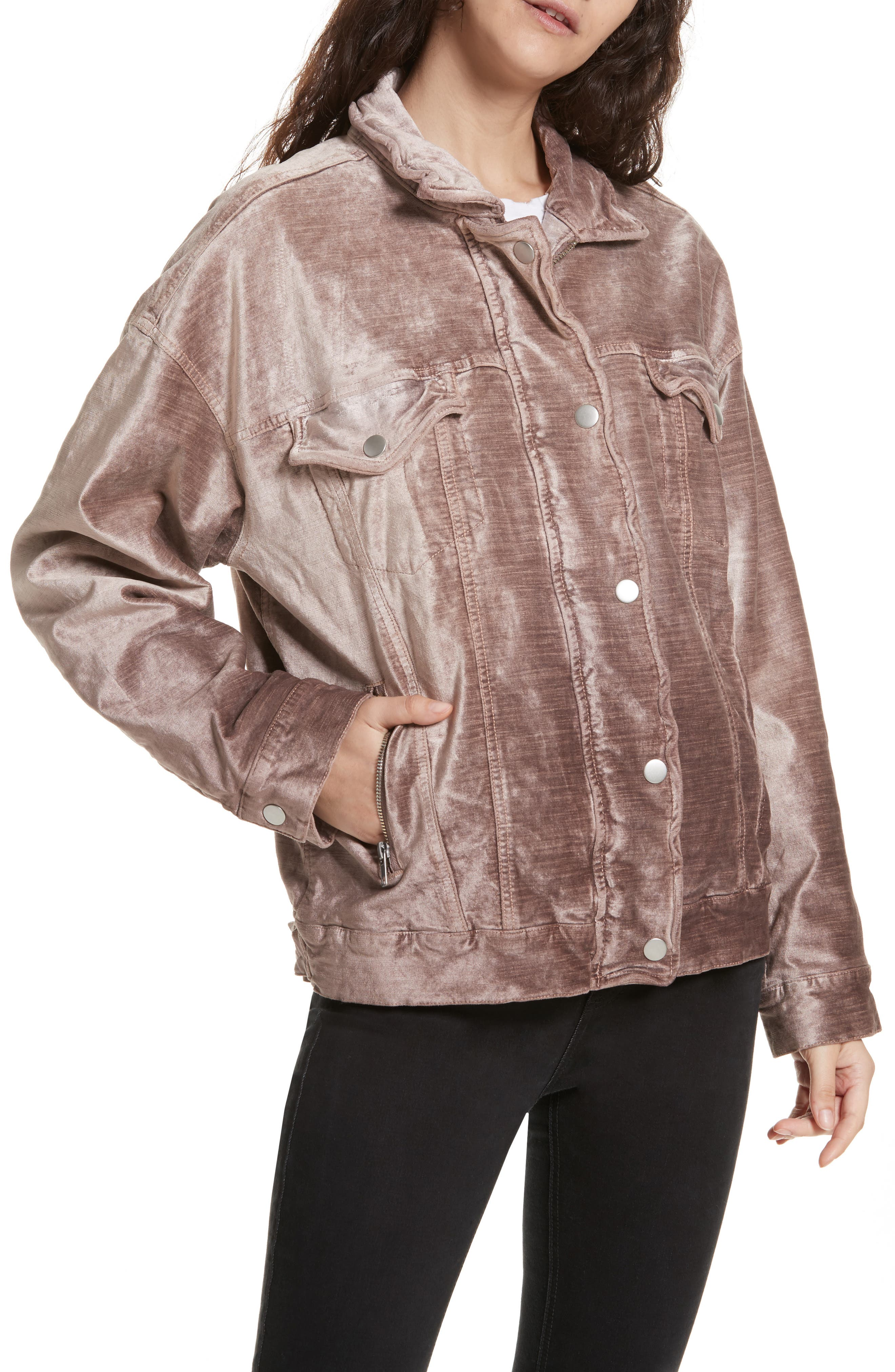 Alternate Image 4  - Free People Velvet Trucker Jacket