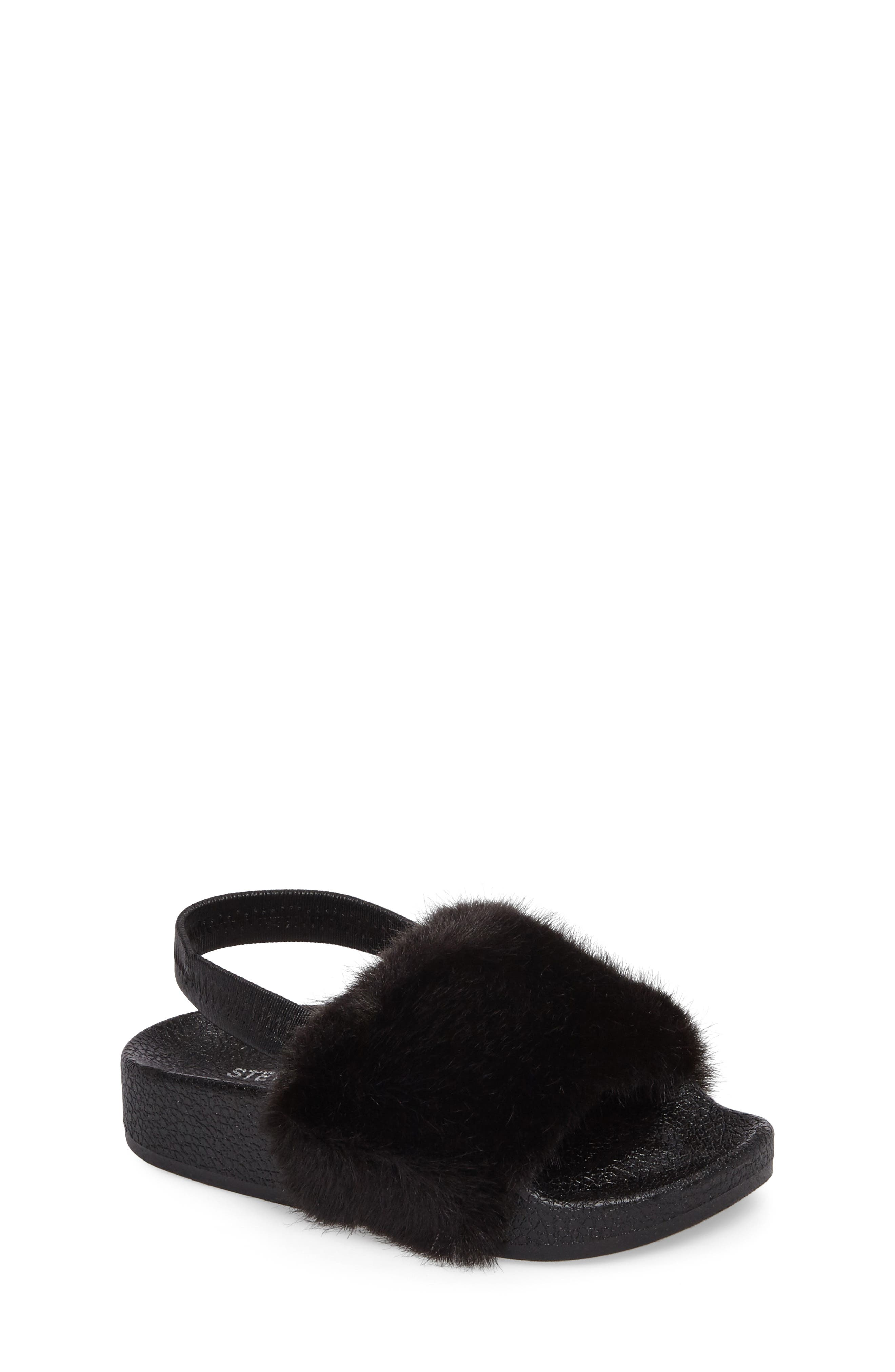 Alternate Image 1 Selected - Steve Madden Tsoftey Faux Fur Slide Sandal (Toddler)