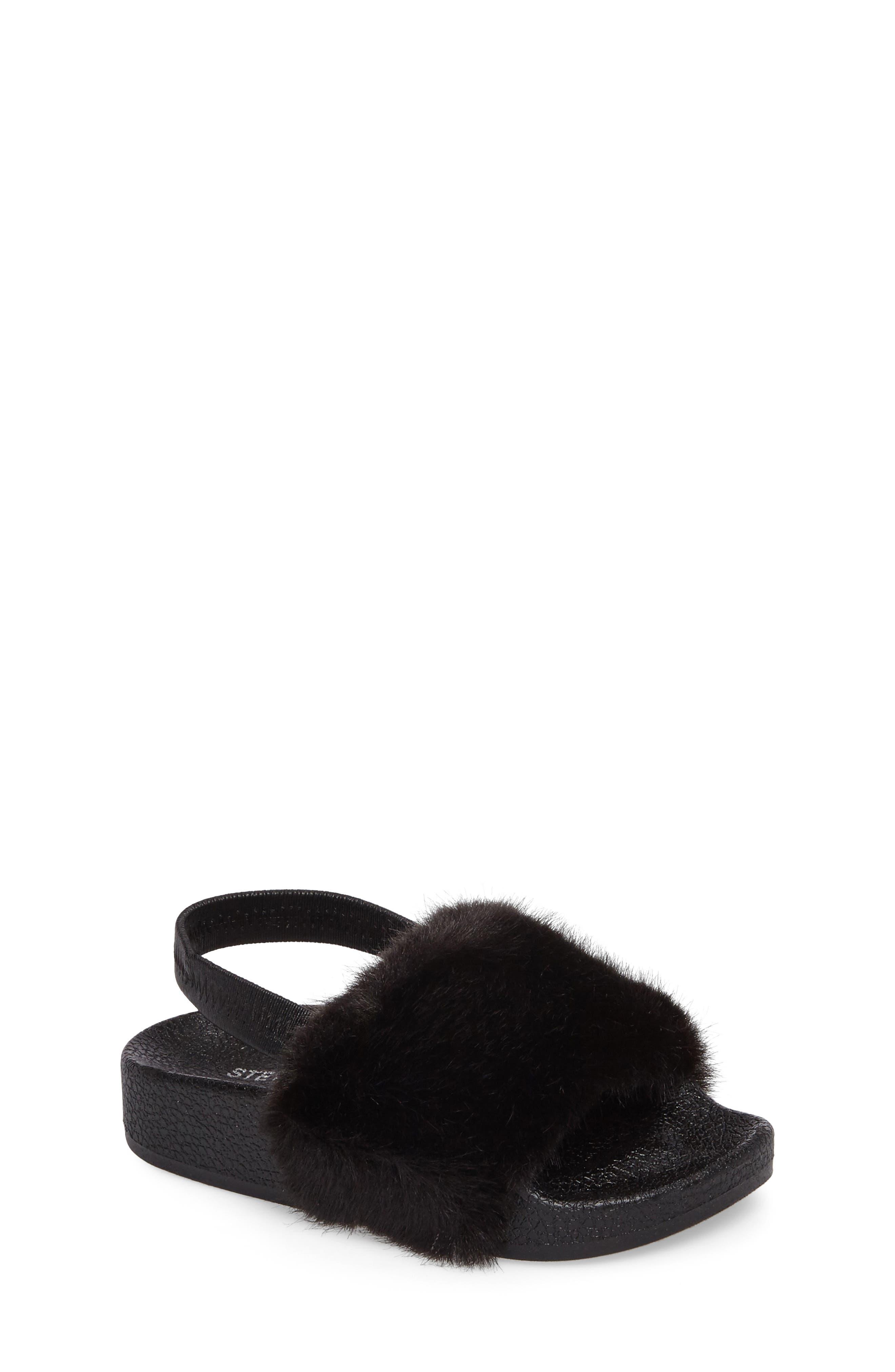 Main Image - Steve Madden Tsoftey Faux Fur Slide Sandal (Toddler)