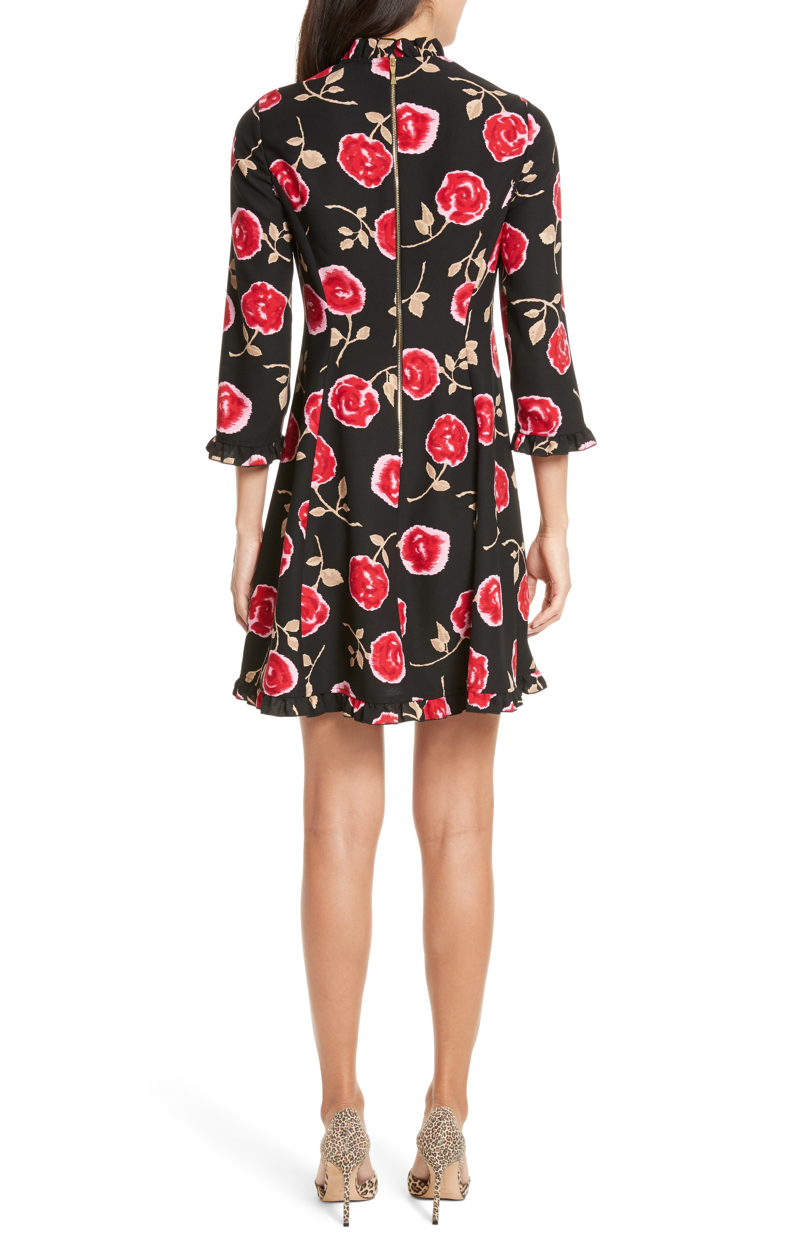 hazy rose crepe a-line dress,                             Alternate thumbnail 2, color,                             Black Multi