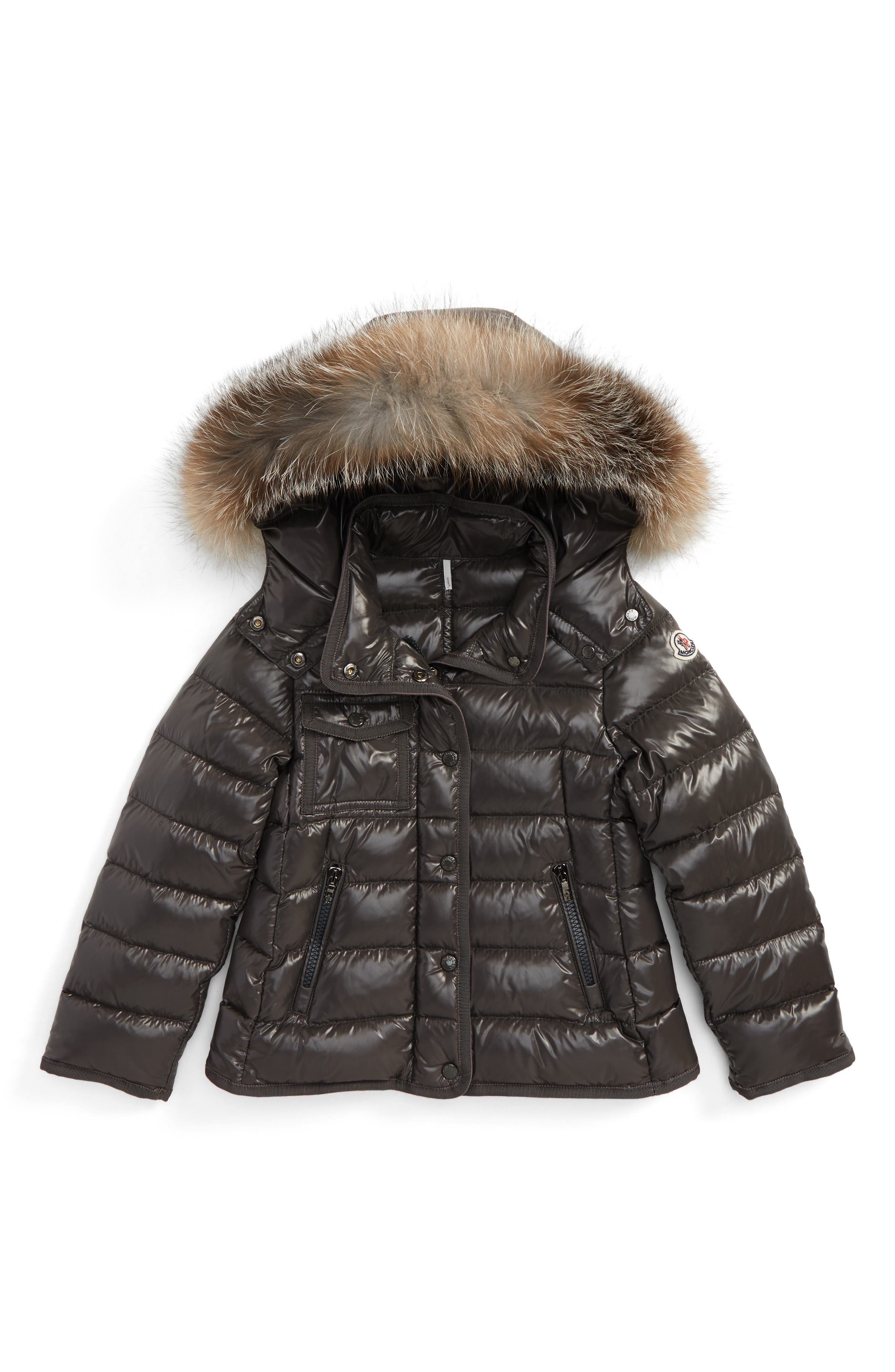 Main Image - Moncler Armoise Hooded Jacket with Genuine Fox Fur Trim (Little Girls & Big Girls)