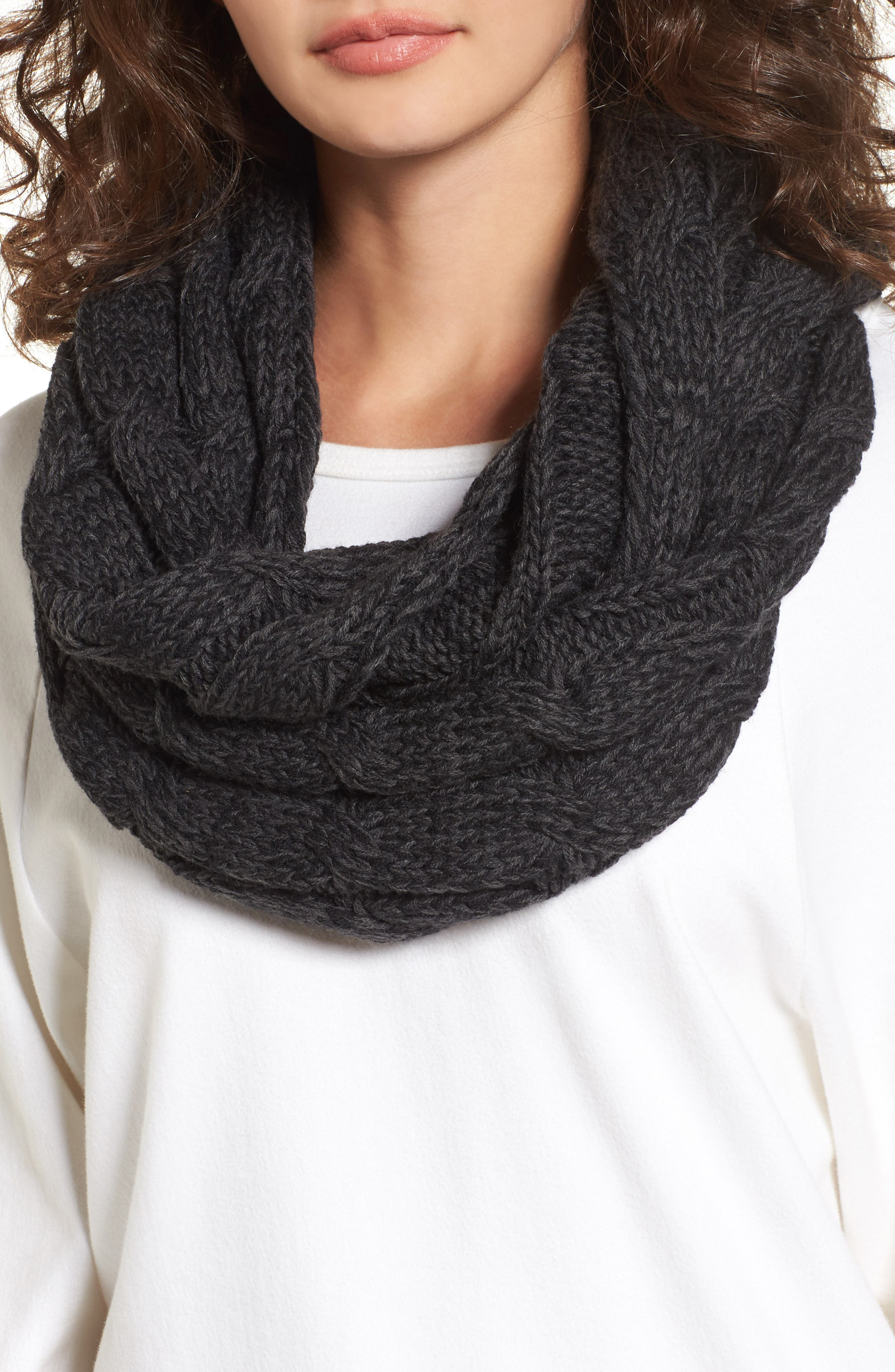 Knit Infinity Scarf,                             Main thumbnail 1, color,                             Black/ Grey