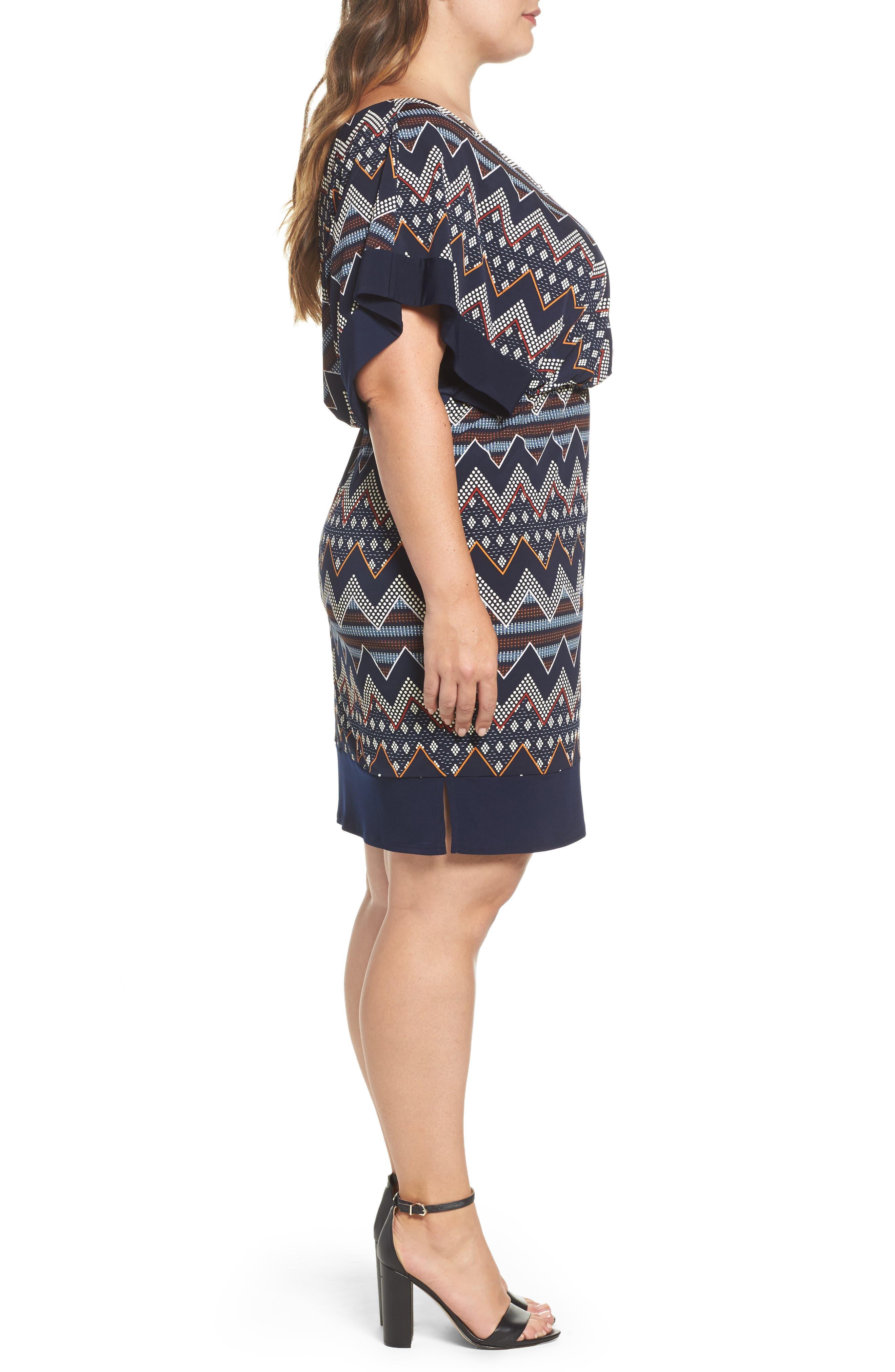 Puff Print Blouson Dress,                             Alternate thumbnail 3, color,                             Multi