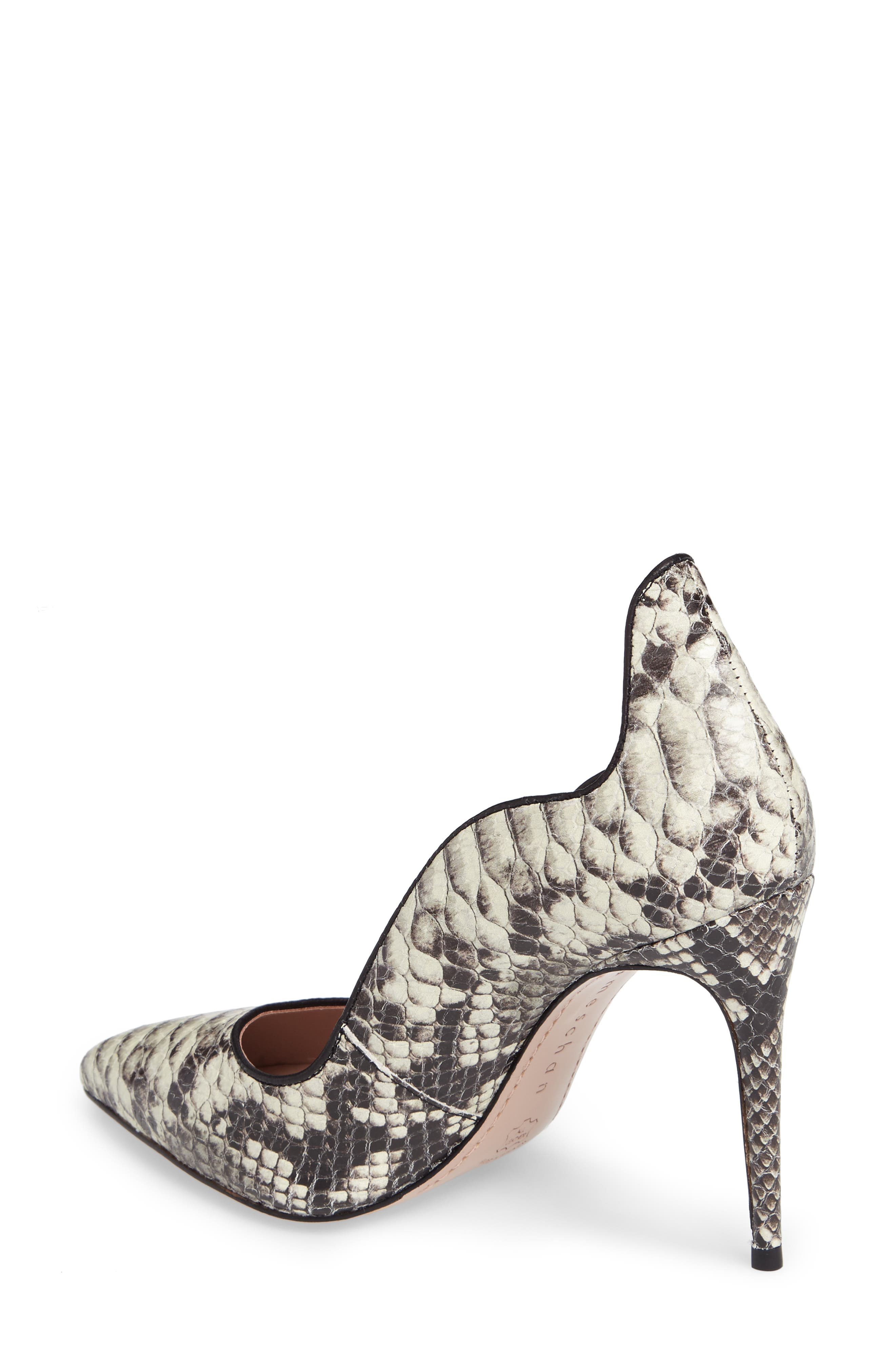 Anika II Curved Pump,                             Alternate thumbnail 2, color,                             Natural Embossed Leather