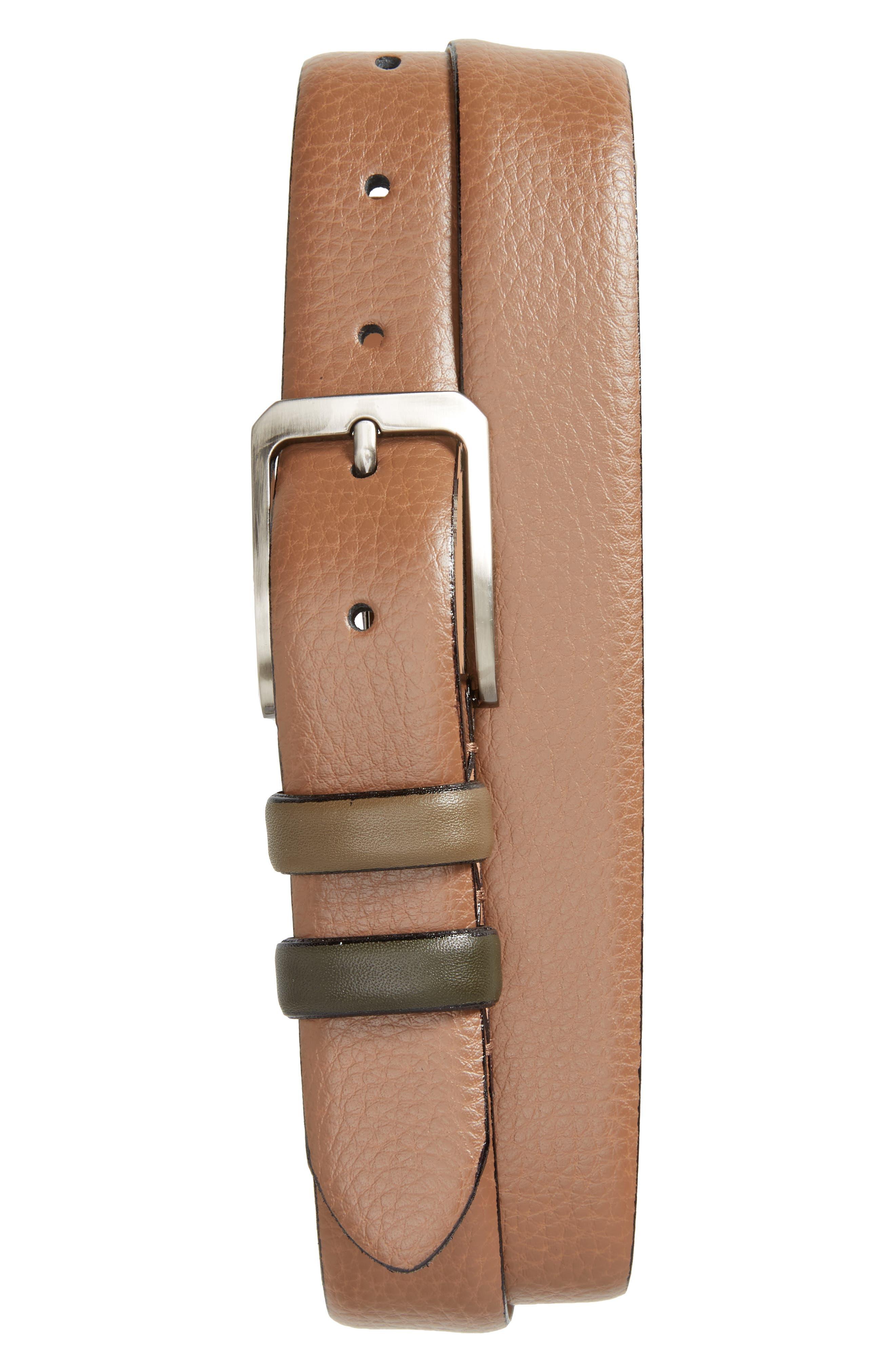 Shrubs Leather Belt,                             Main thumbnail 1, color,                             Tan