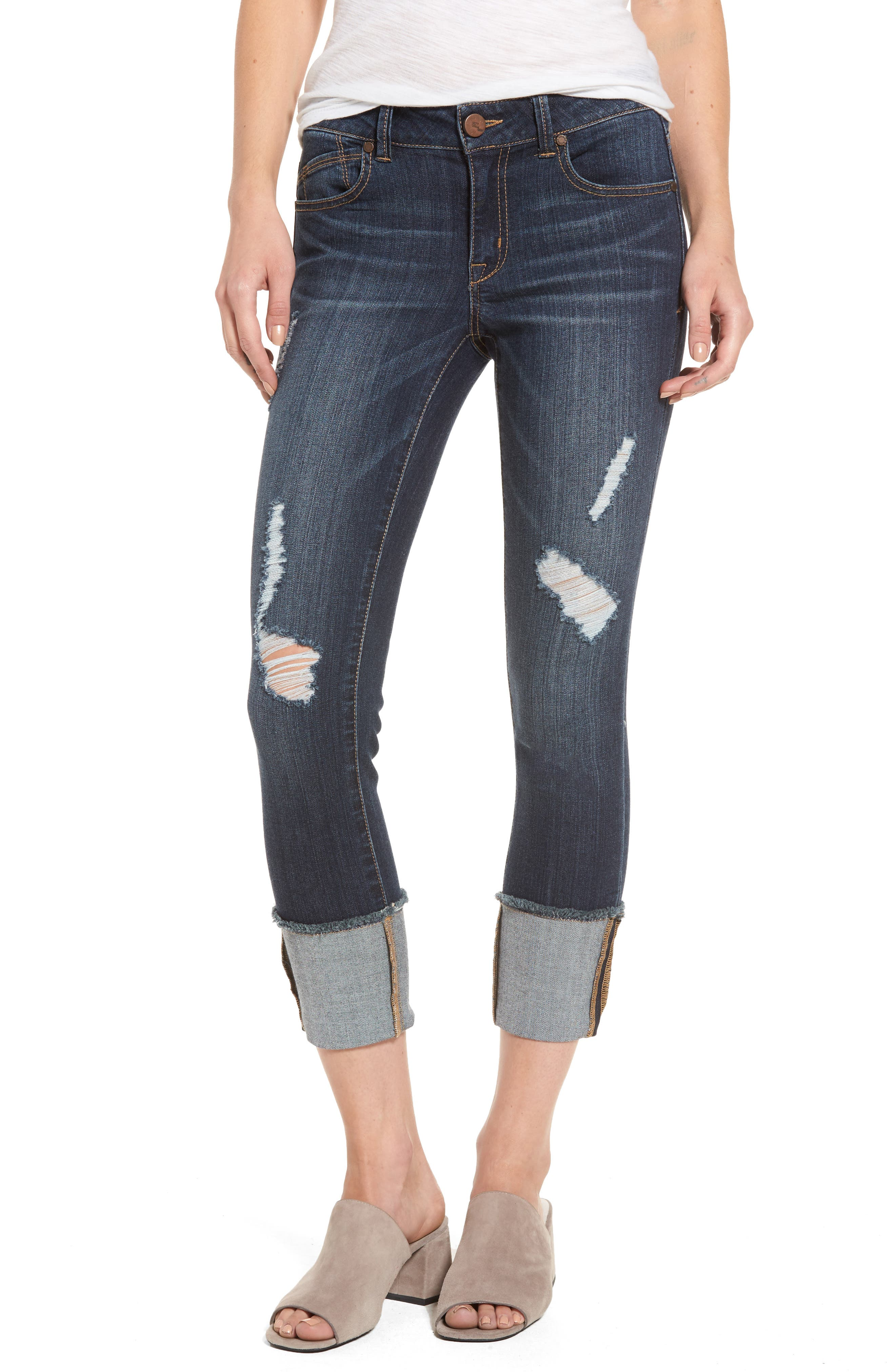 Distressed Roll Cuff Jeans,                             Main thumbnail 1, color,                             Hazel