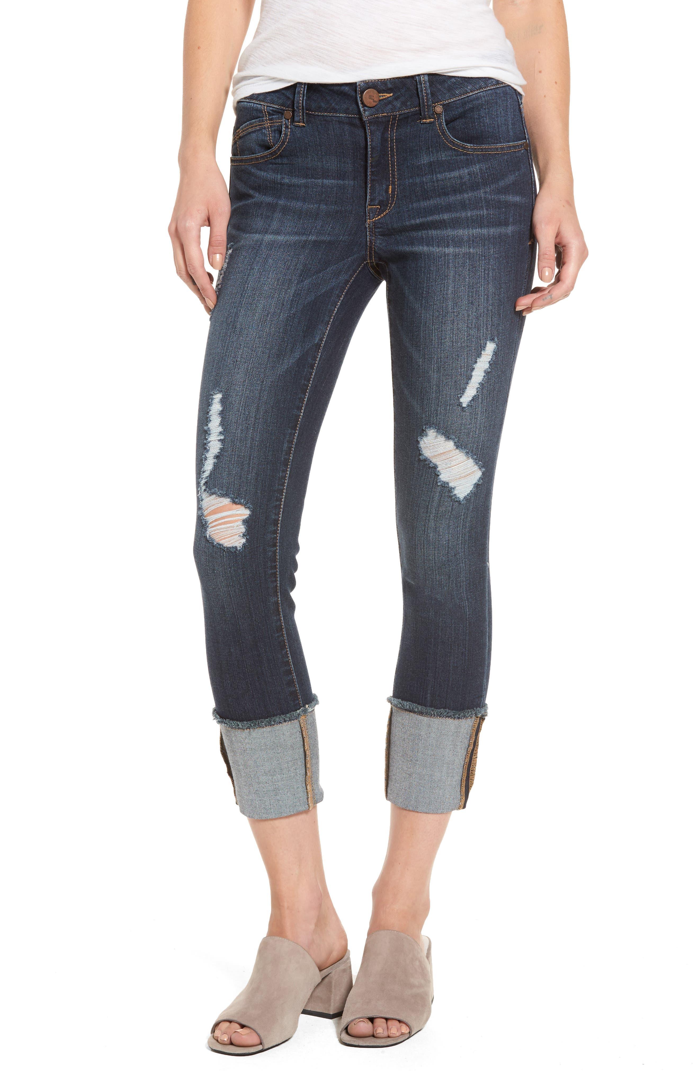 Main Image - 1822 Denim Distressed Roll Cuff Jeans (Hazel)