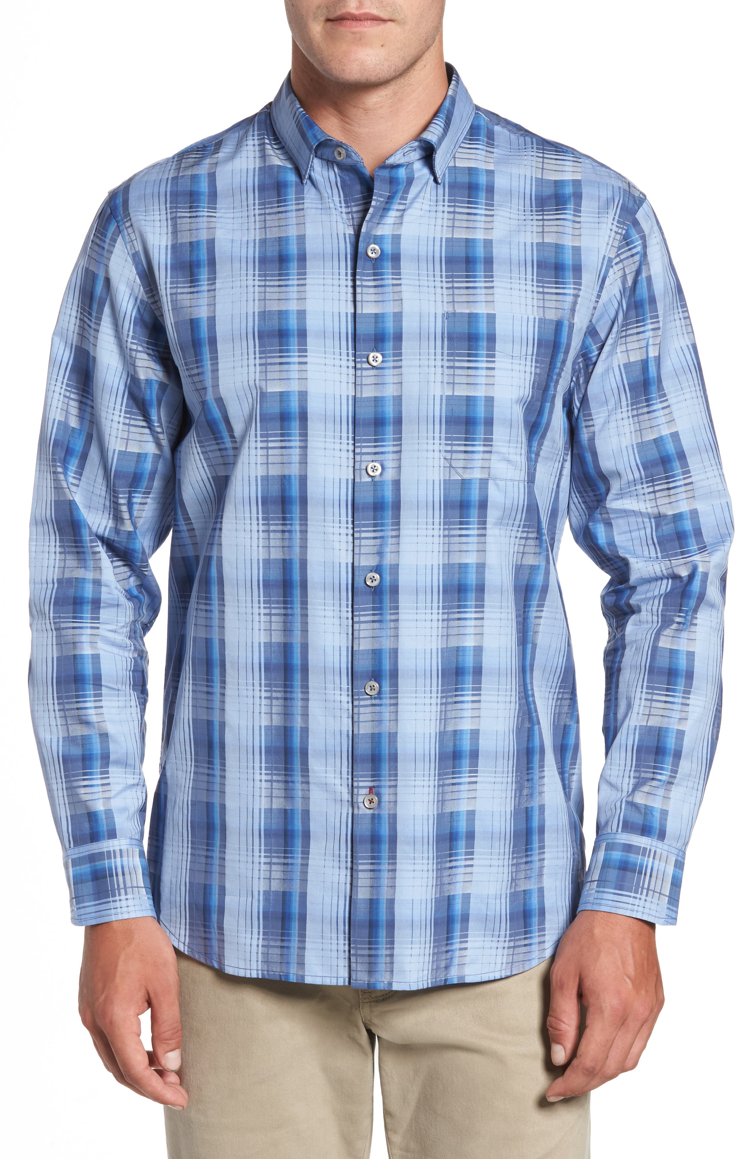 Shadow Ridge Check Cotton & Silk Sport Shirt,                         Main,                         color, Dark Cobalt