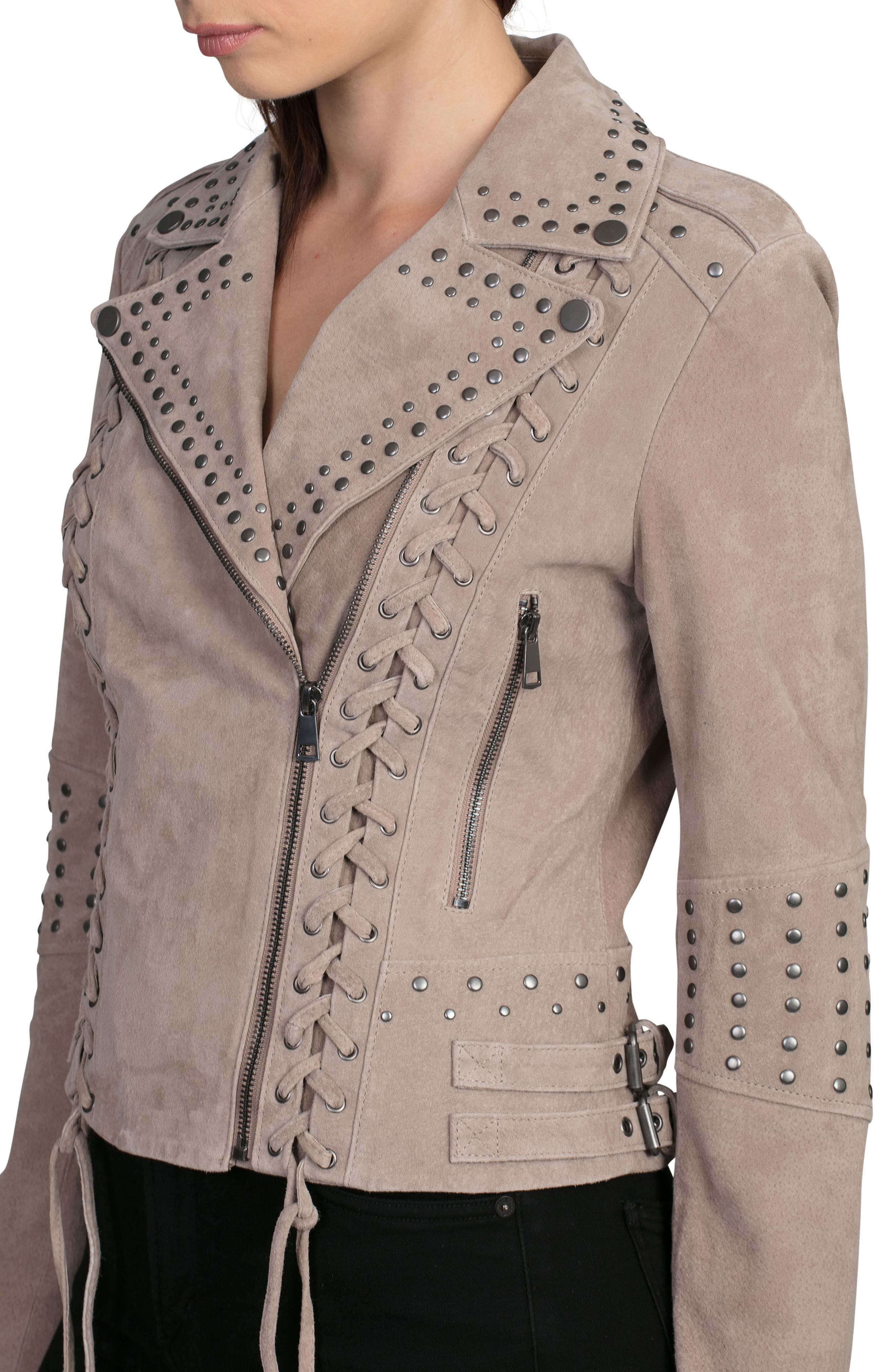 Bagatelle Studded Suede Jacket,                             Alternate thumbnail 5, color,                             Latte