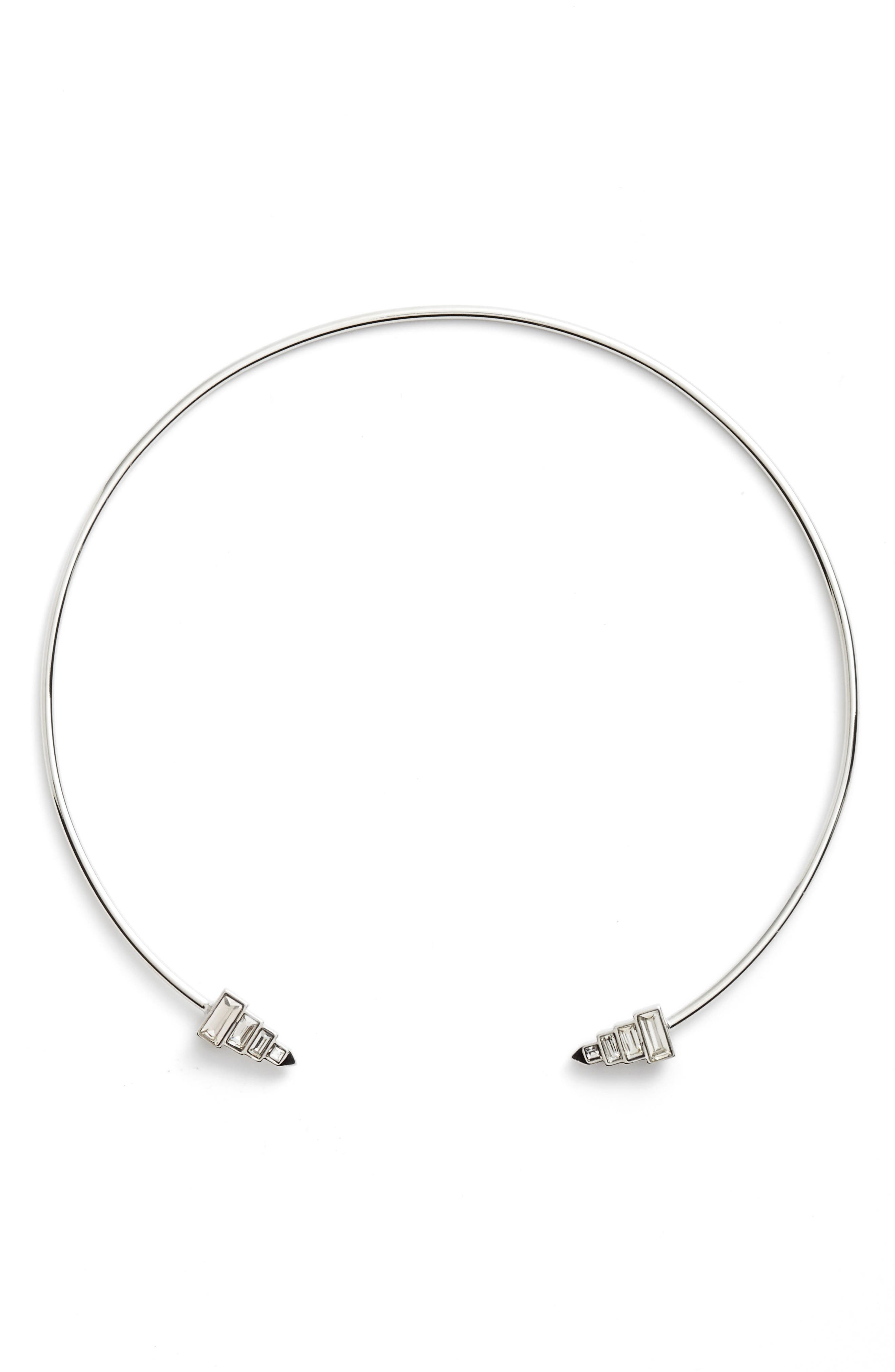 Open Collar Necklace,                         Main,                         color, Clear/ Silver