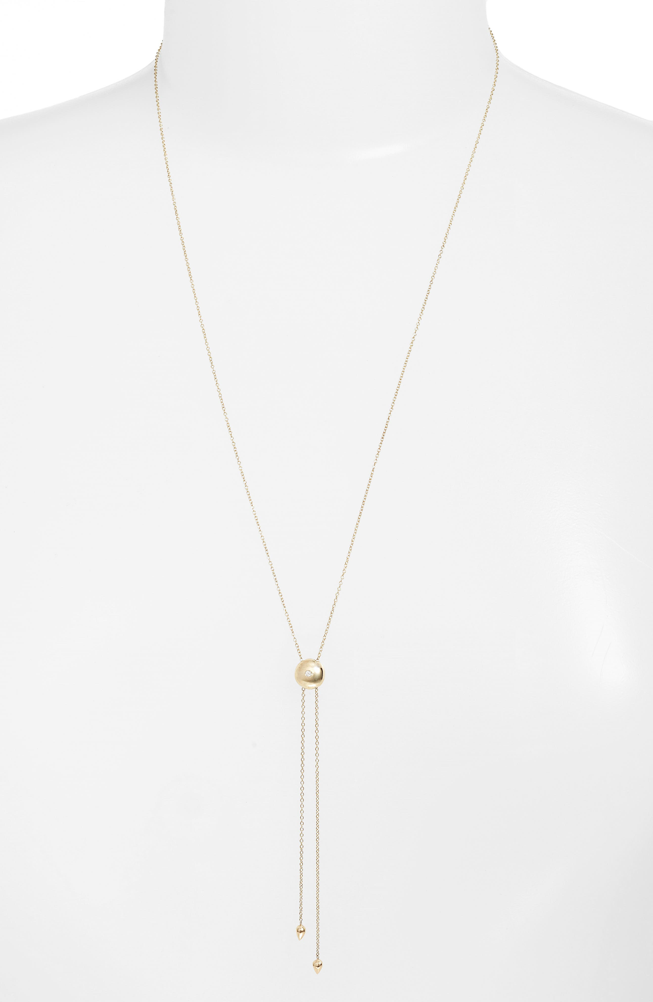Diamond Lariat Necklace,                             Main thumbnail 1, color,                             Yellow Gold