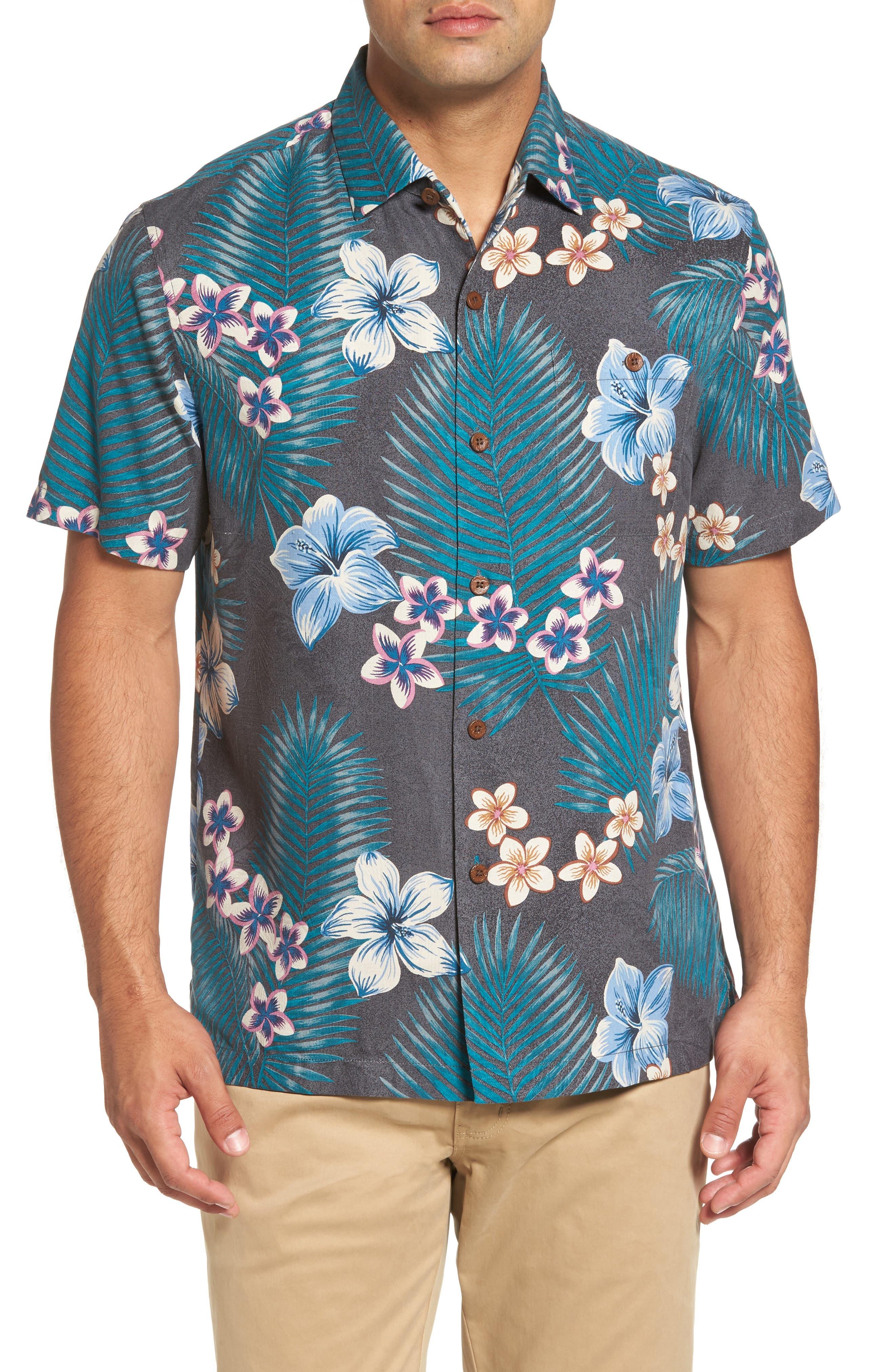 Marjorelle Blooms Standard Fit Camp Shirt,                         Main,                         color, Jet Black