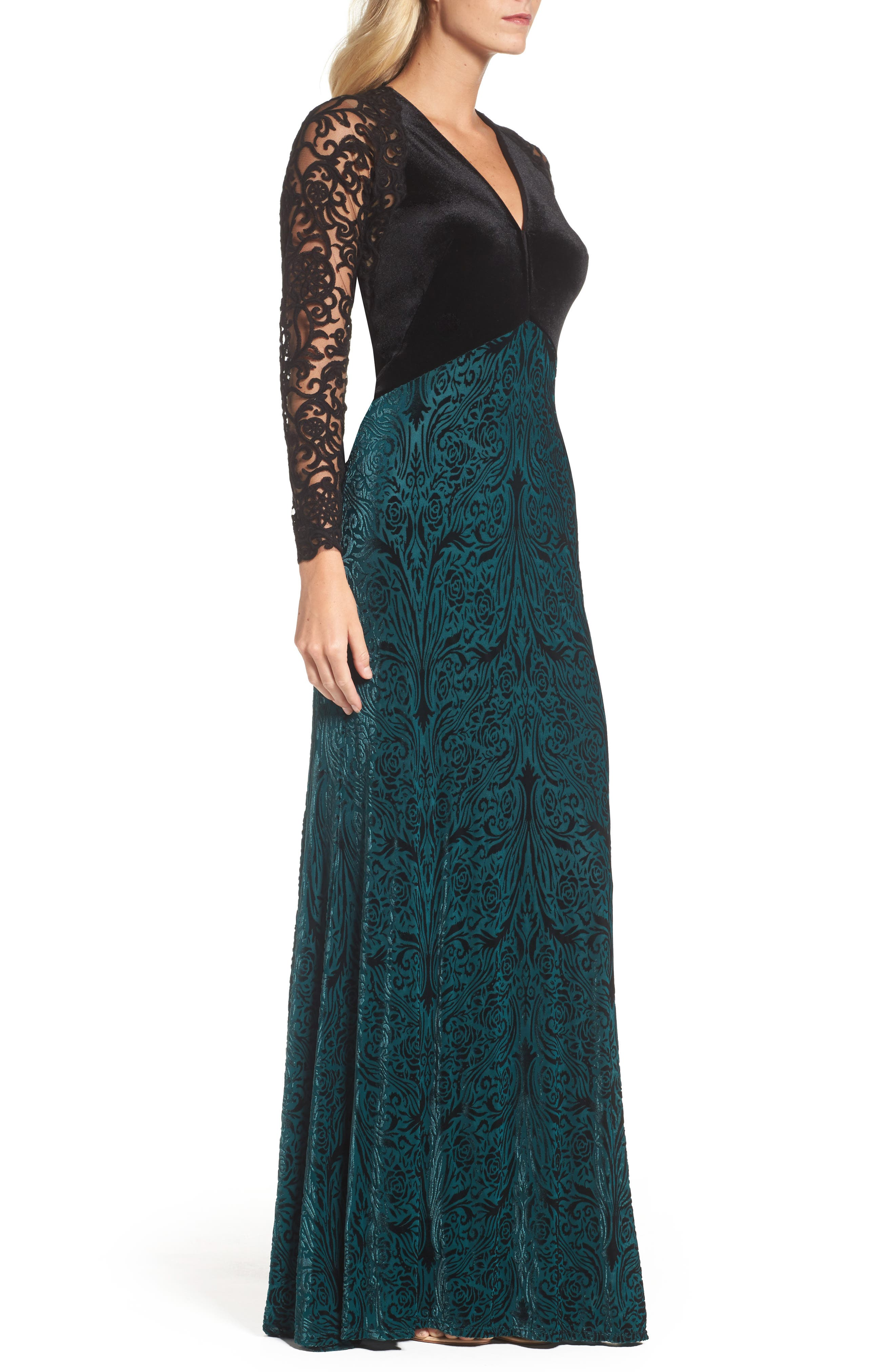 V-Neck Velvet & Illusion Gown,                             Alternate thumbnail 3, color,                             Forest/ Black