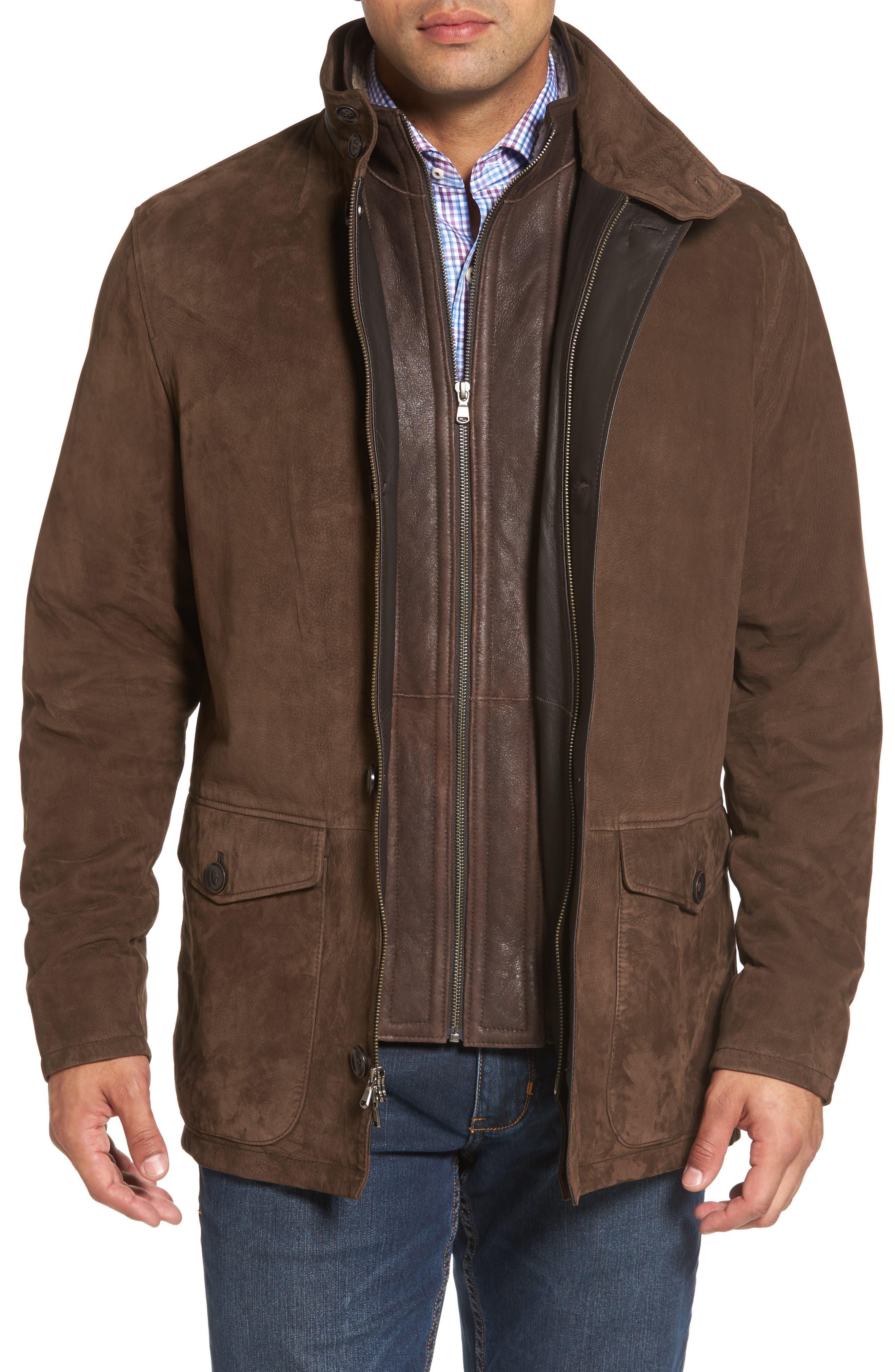 Steamboat Leather Jacket with Genuine Shearling Lined Bib,                         Main,                         color, Branch