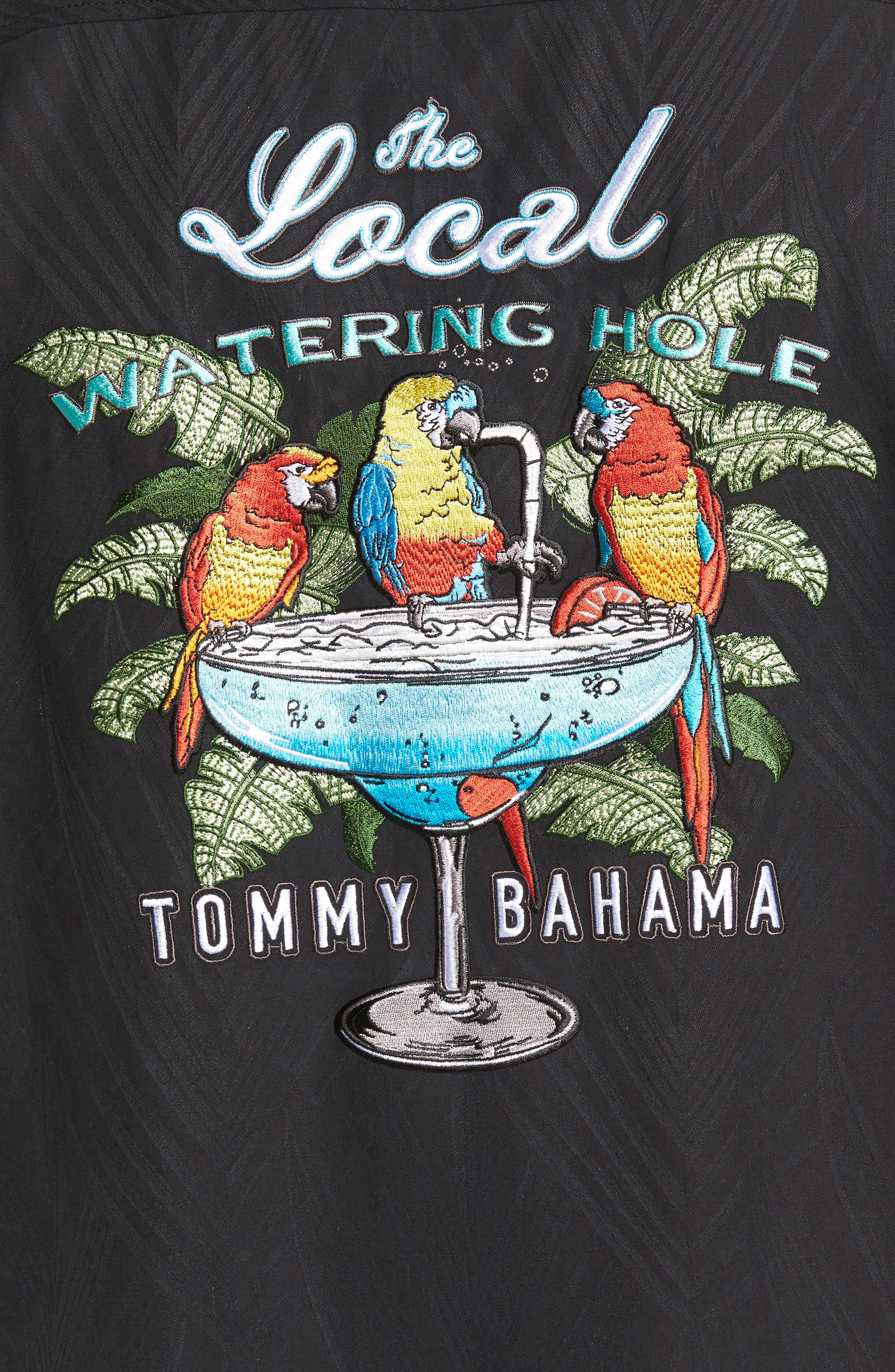 Alternate Image 5  - Tommy Bahama Local Watering Hole Embroidered Silk Camp Shirt (Big & Tall)