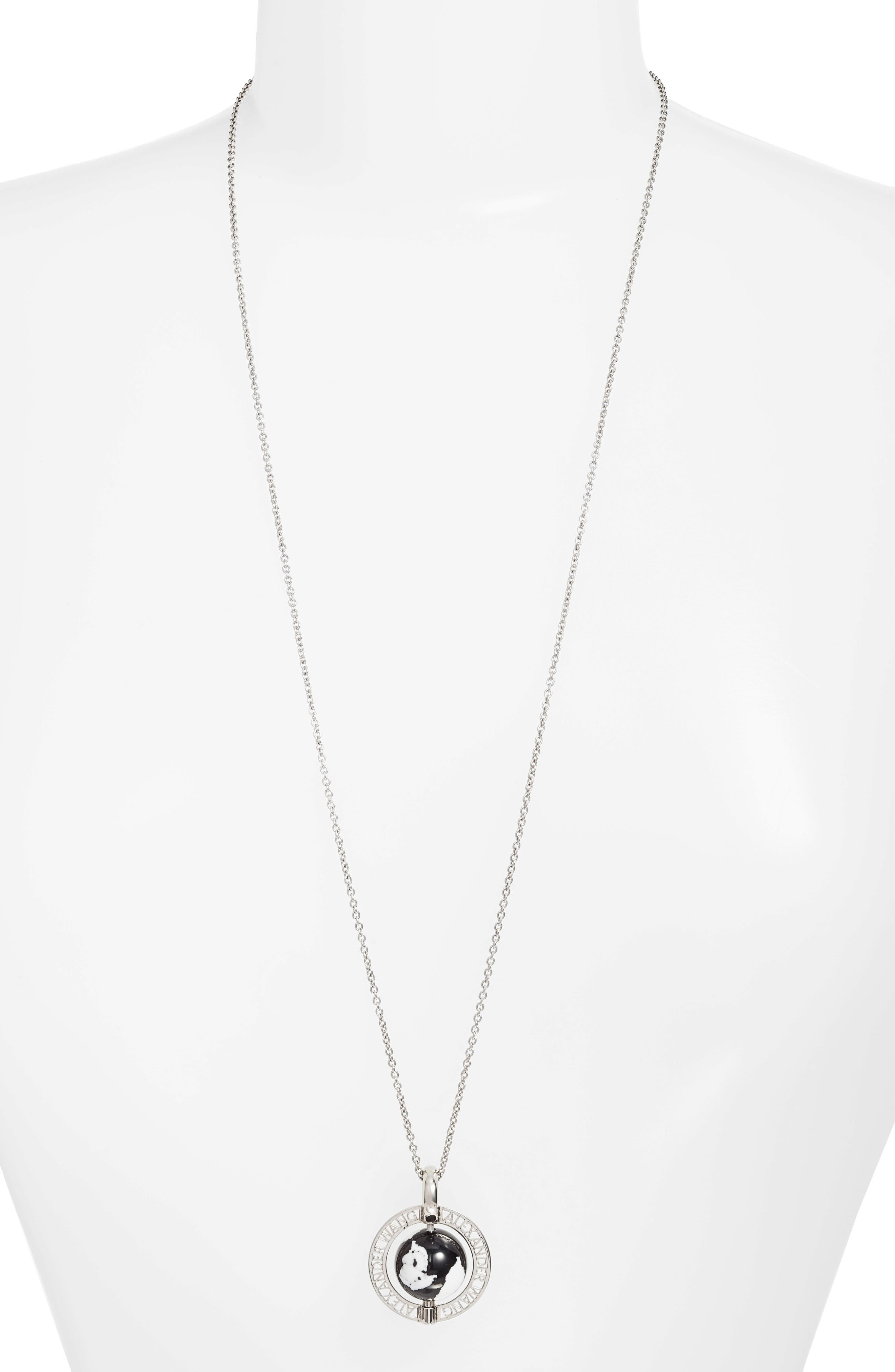 Long Globe Pendant Necklace,                         Main,                         color, Silver