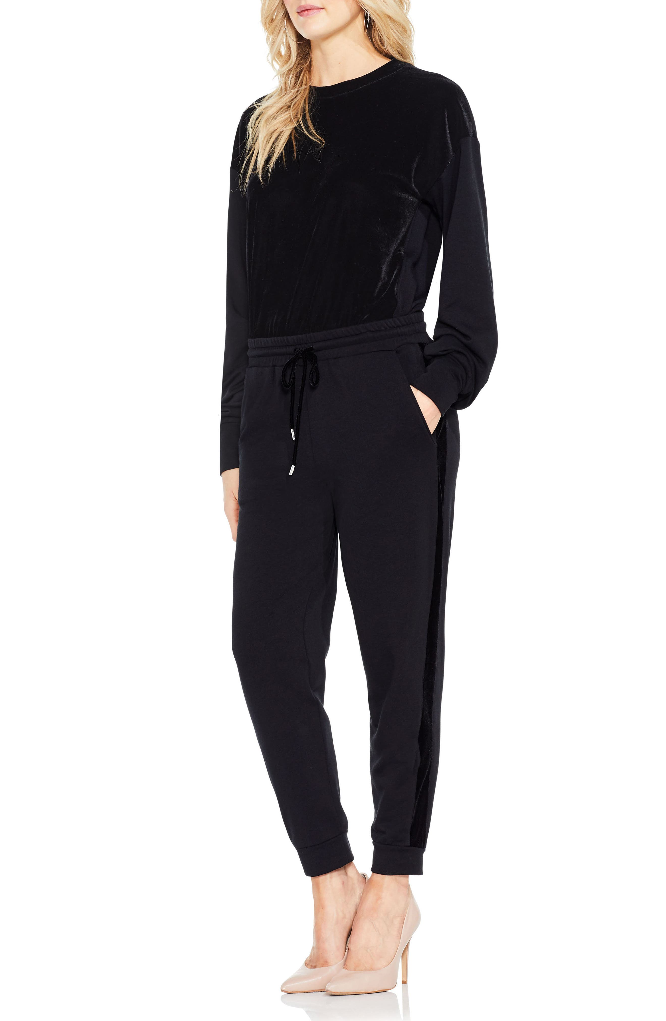 Alternate Image 2  - Two by Vince Camuto Velvet Stripe Jogger Pants