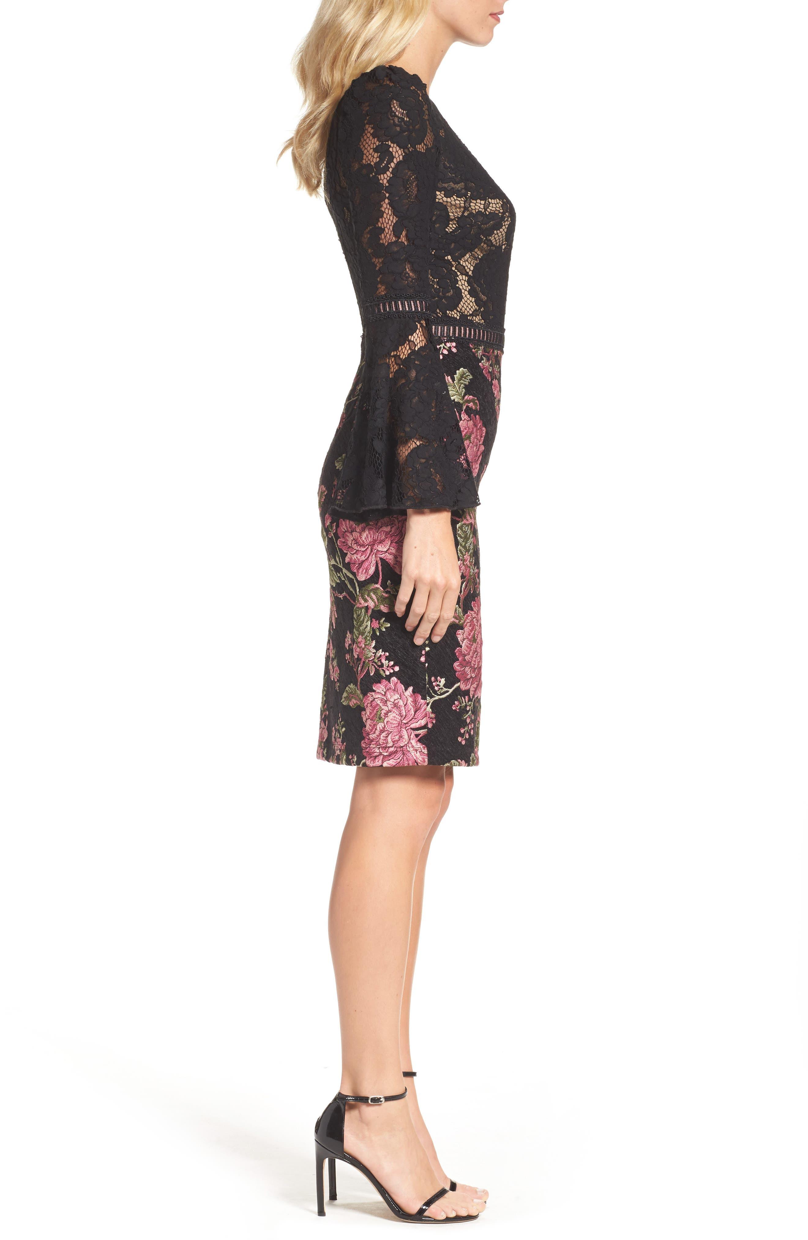 Lace & Brocade Sheath Dress,                             Alternate thumbnail 3, color,                             Black