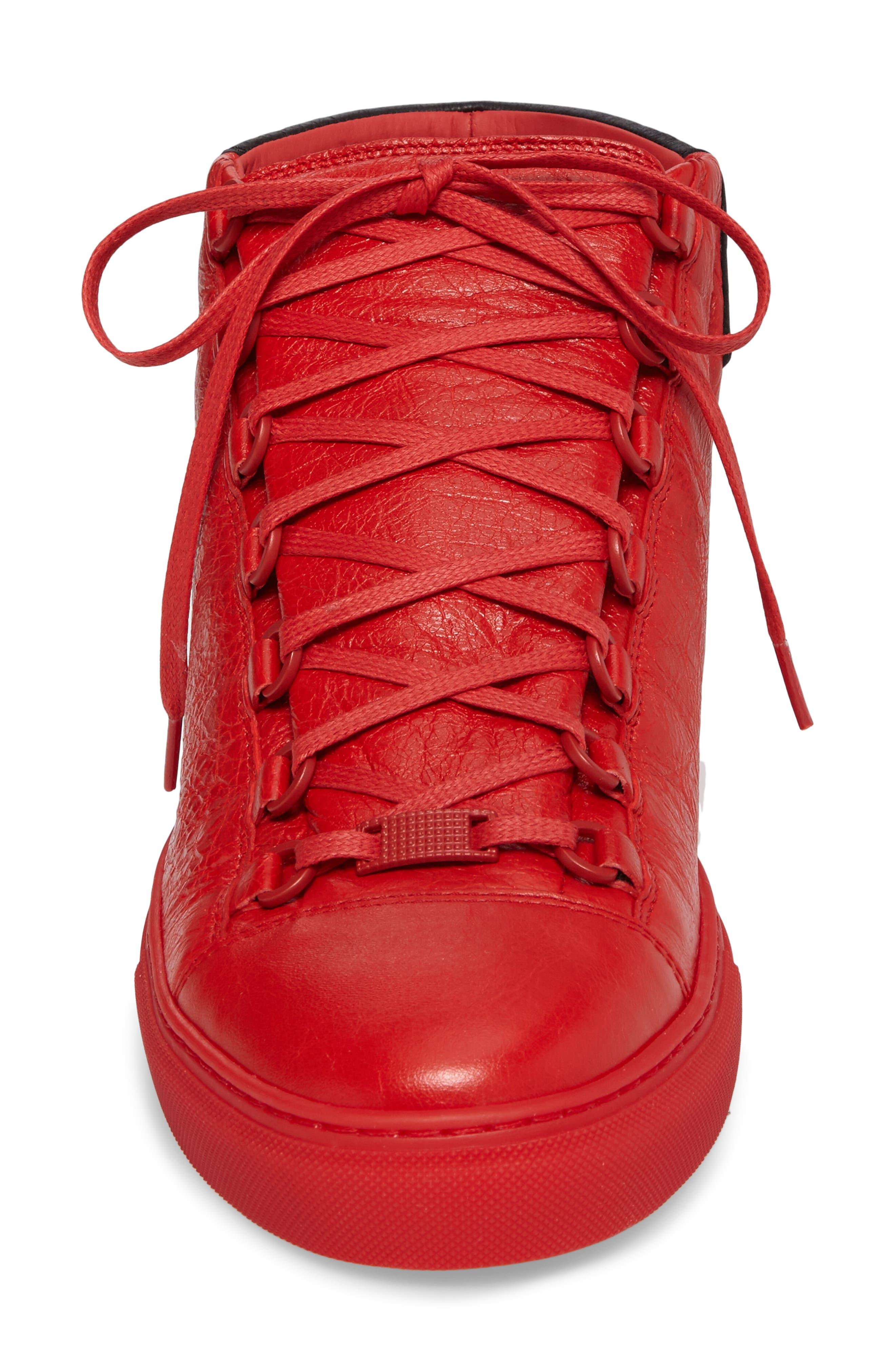 Arena High Sneaker,                             Alternate thumbnail 4, color,                             Rouge Paprika/ Noir Leather