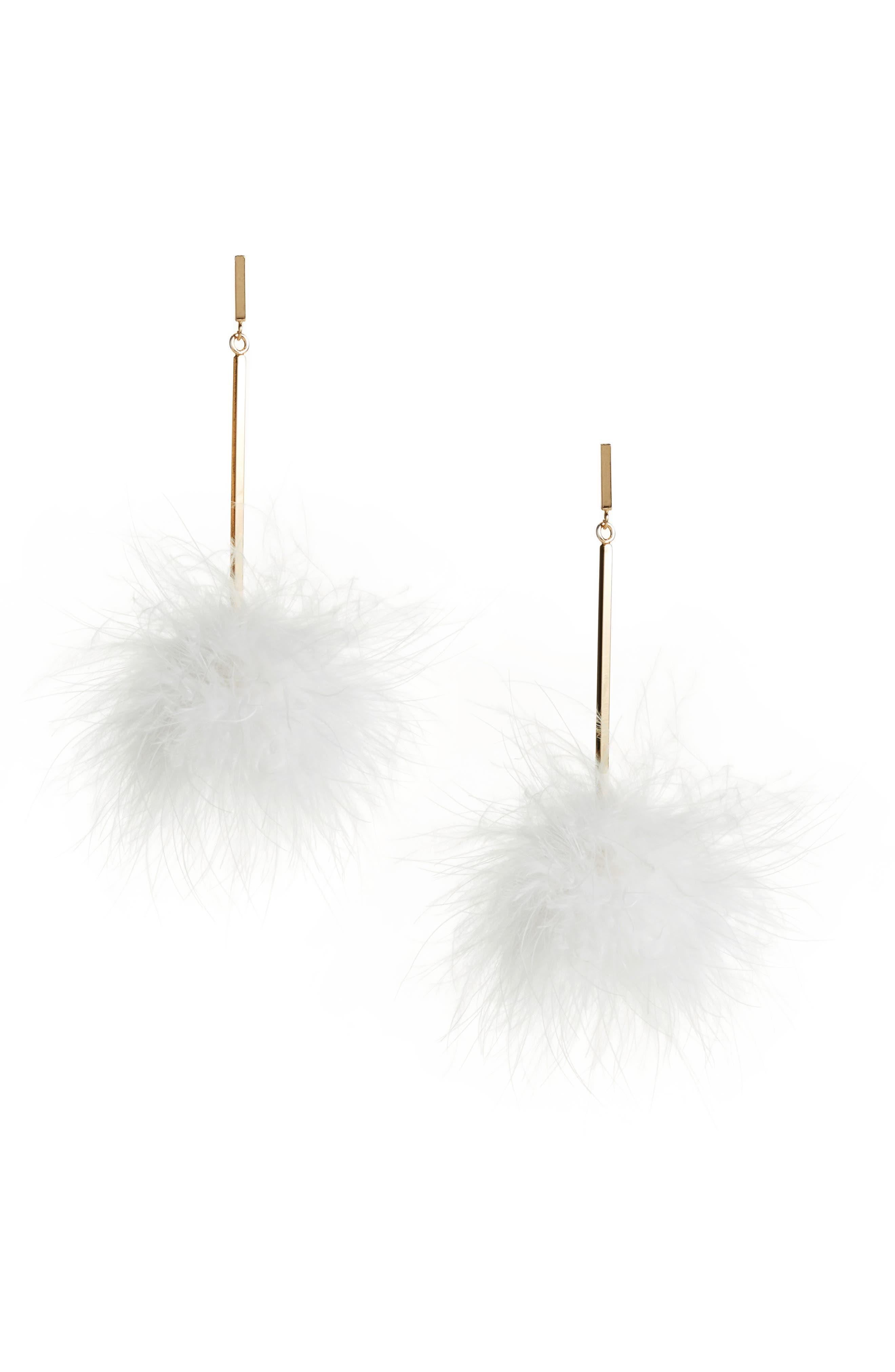 Main Image - Tuleste Mini Marabou Feather Pompom Earrings