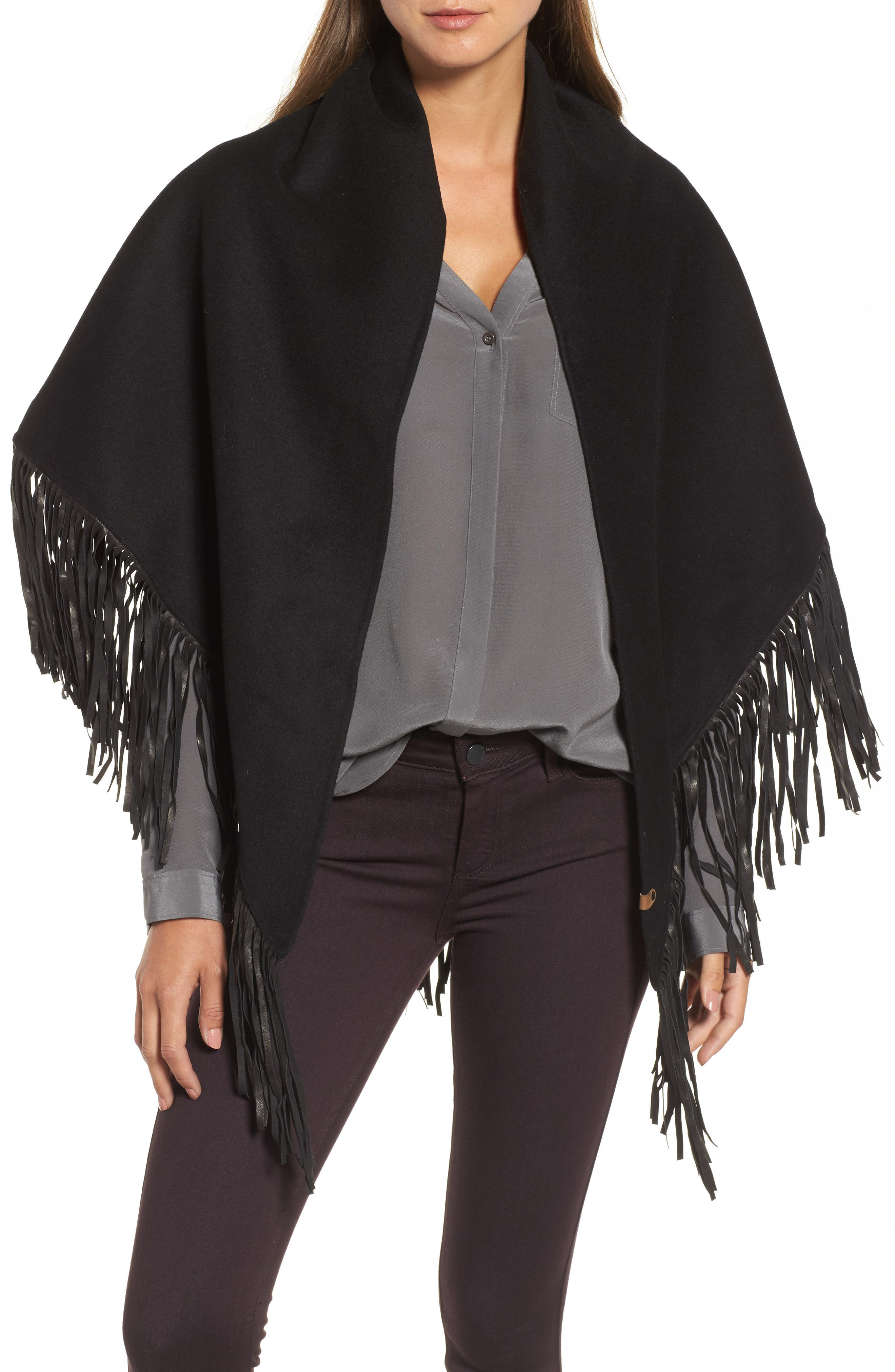 Main Image - Mackage Fida Leather Fringe Shawl