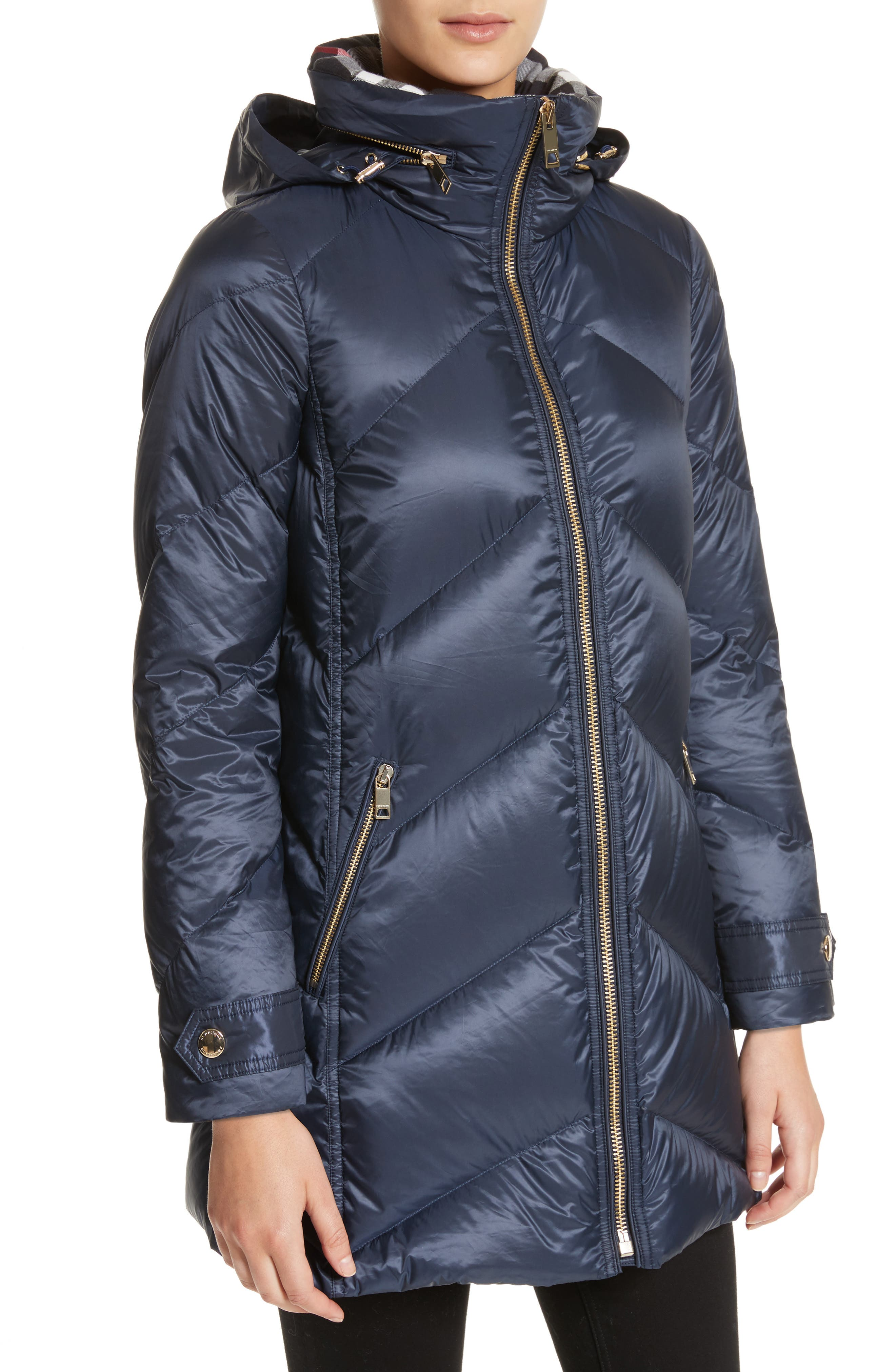 Eastwick Chevron Quilted Coat,                             Alternate thumbnail 4, color,                             Ink