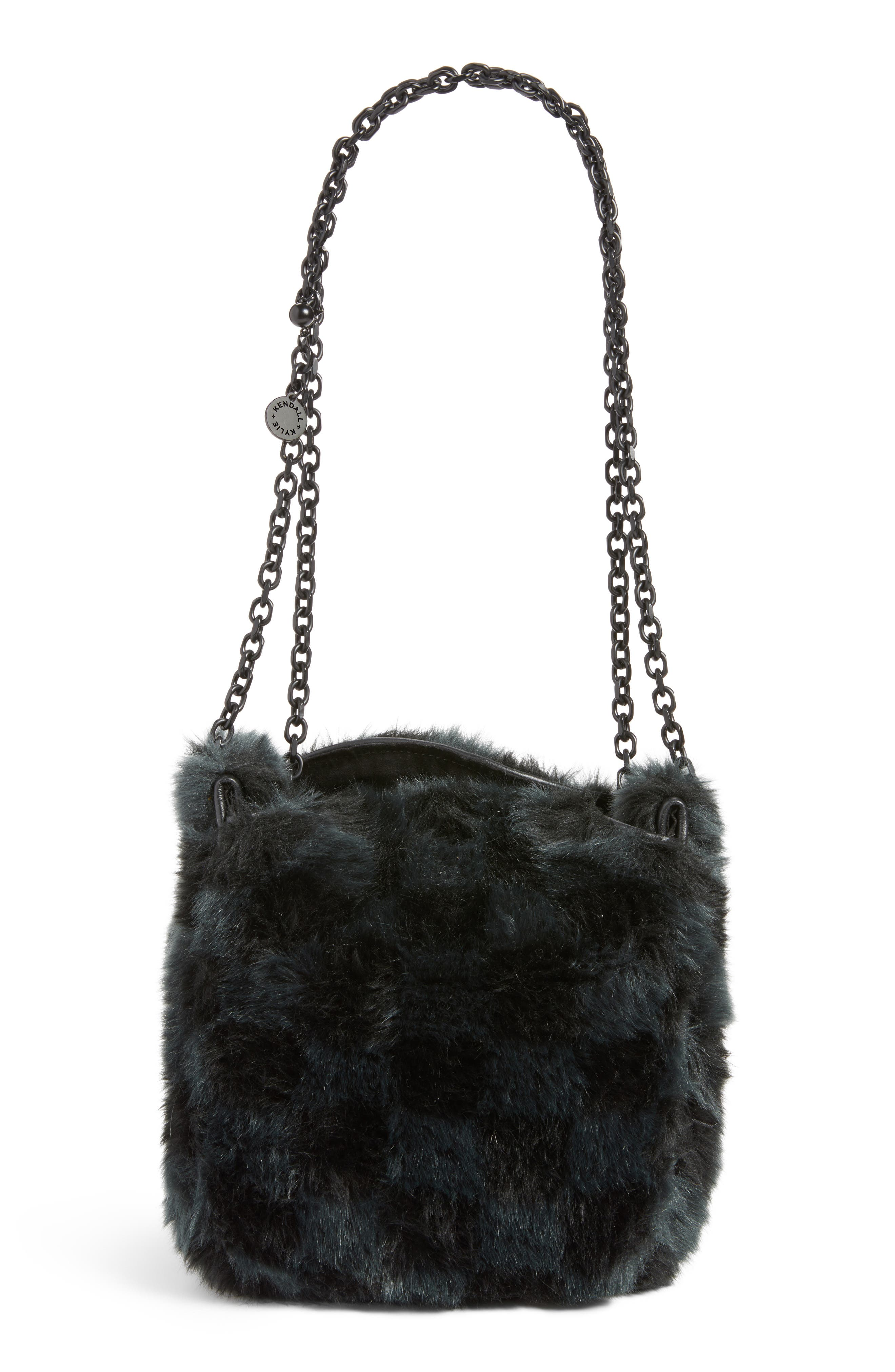 Faux Fur Bucket Bag,                         Main,                         color, Black Checkered
