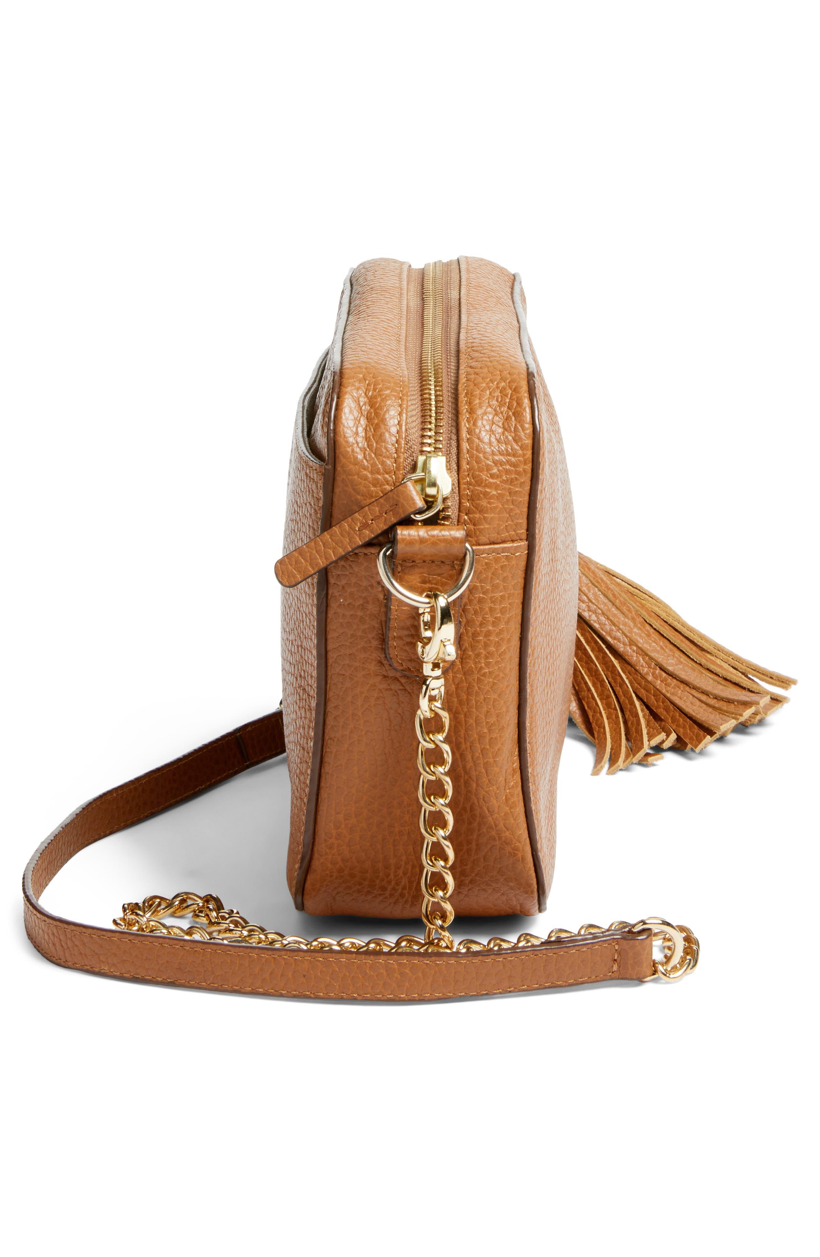 Ella Tassel Leather Crossbody Bag,                             Alternate thumbnail 5, color,                             Tan Spice