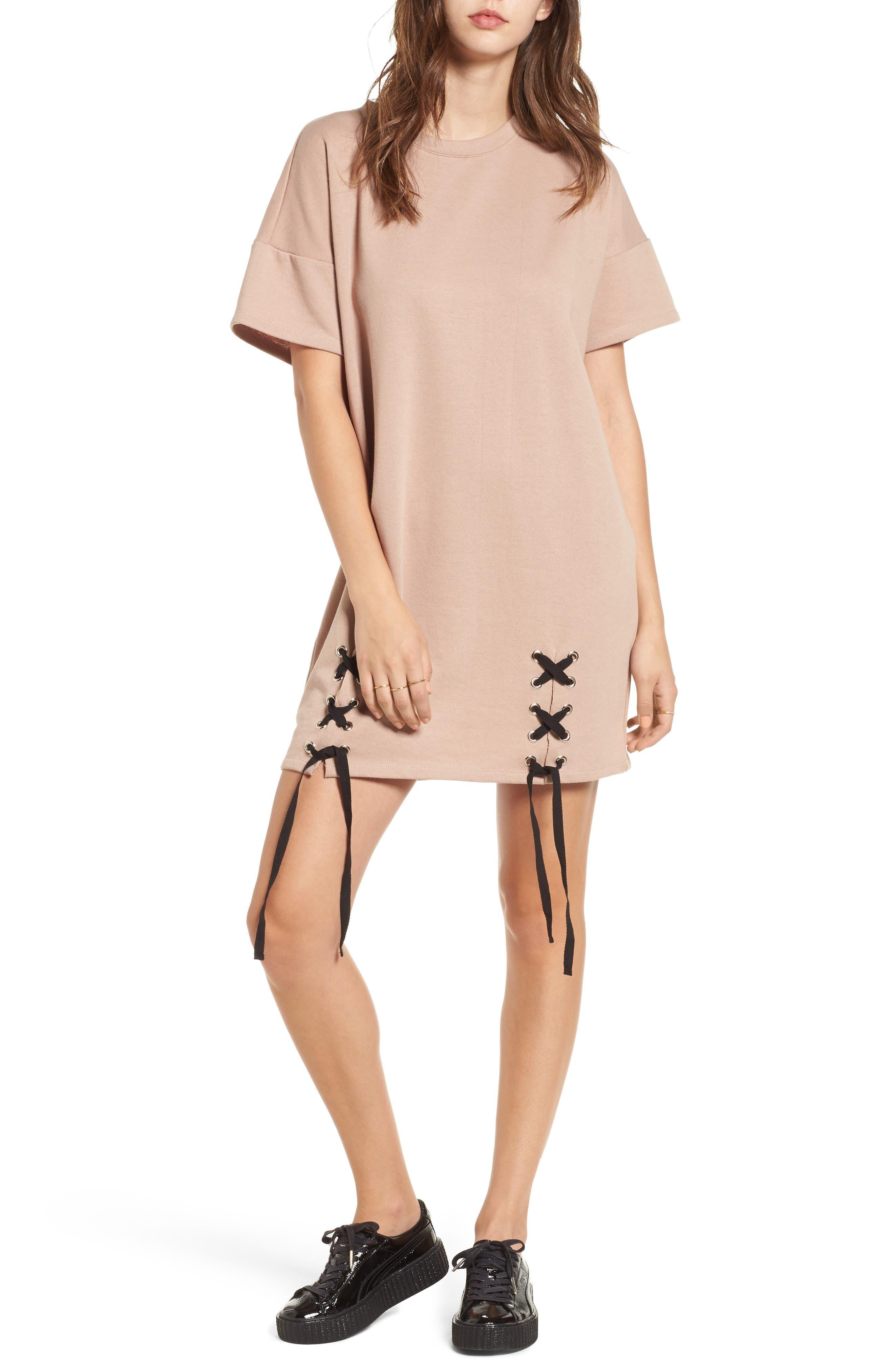 One Clothing Lace-Up Sweatshirt Dress