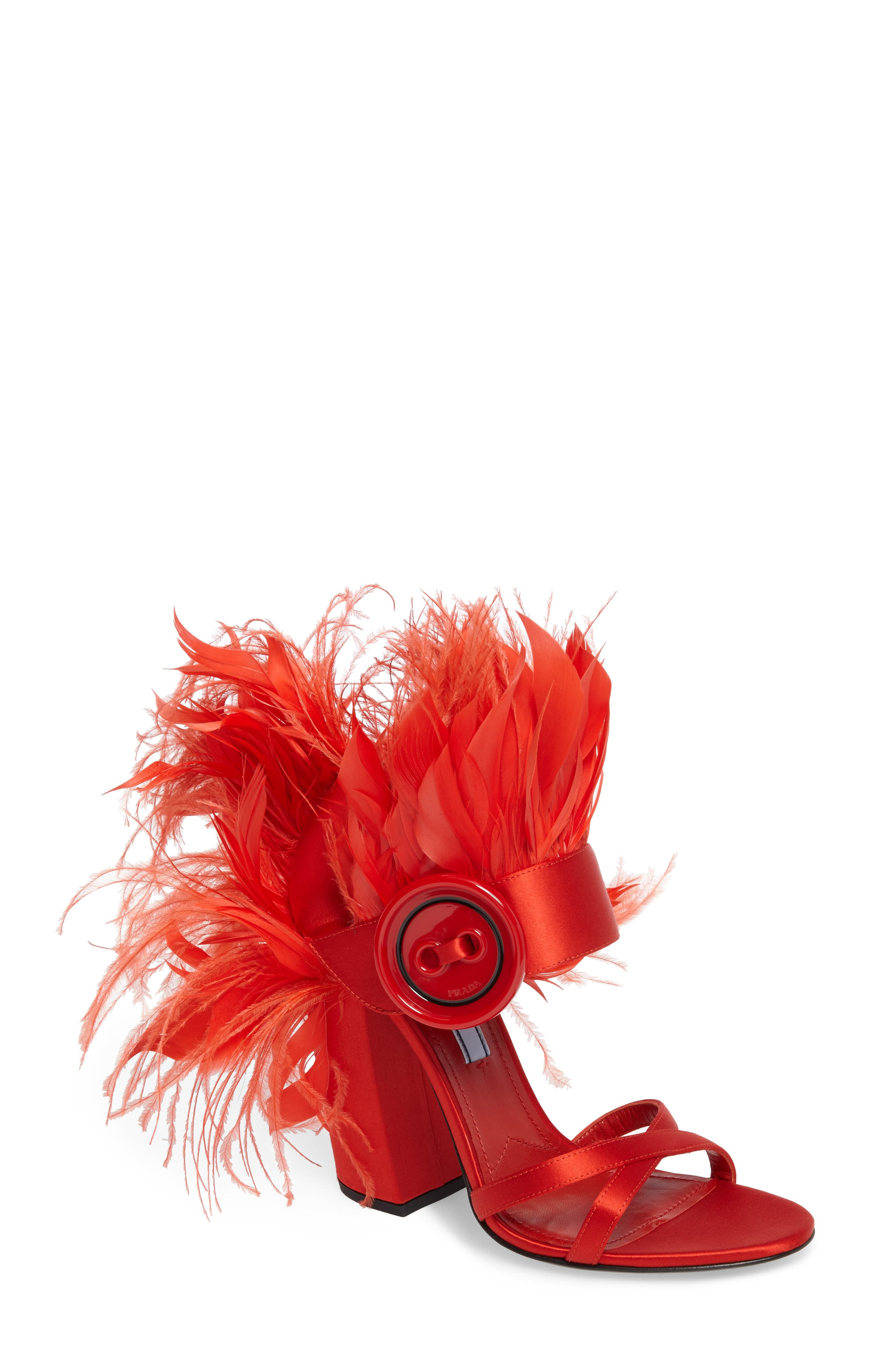 Feather Block Heel Sandal,                             Main thumbnail 1, color,                             Red Satin