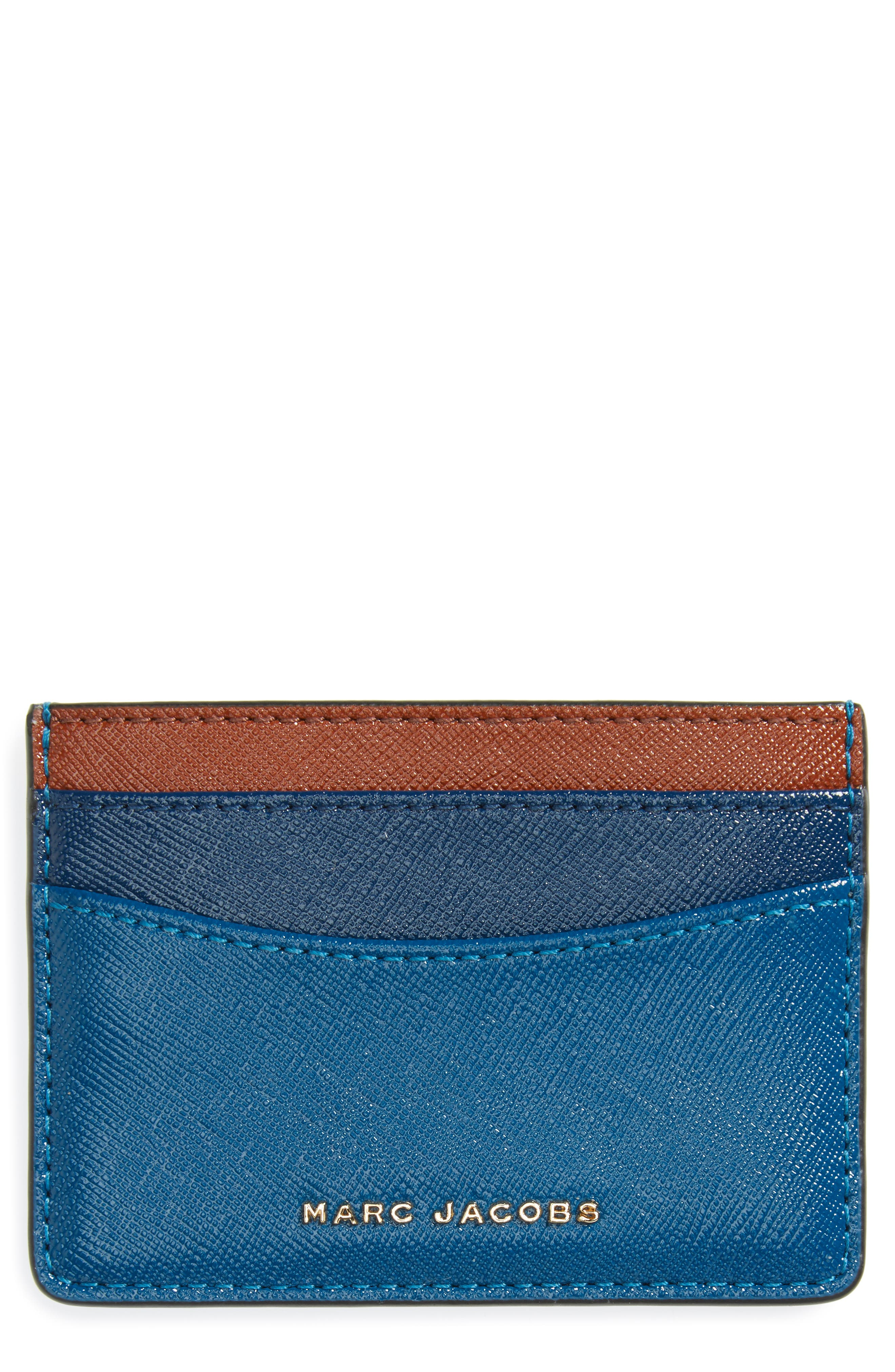 Main Image - MARC JACOBS Color Block Saffiano Leather Card Case