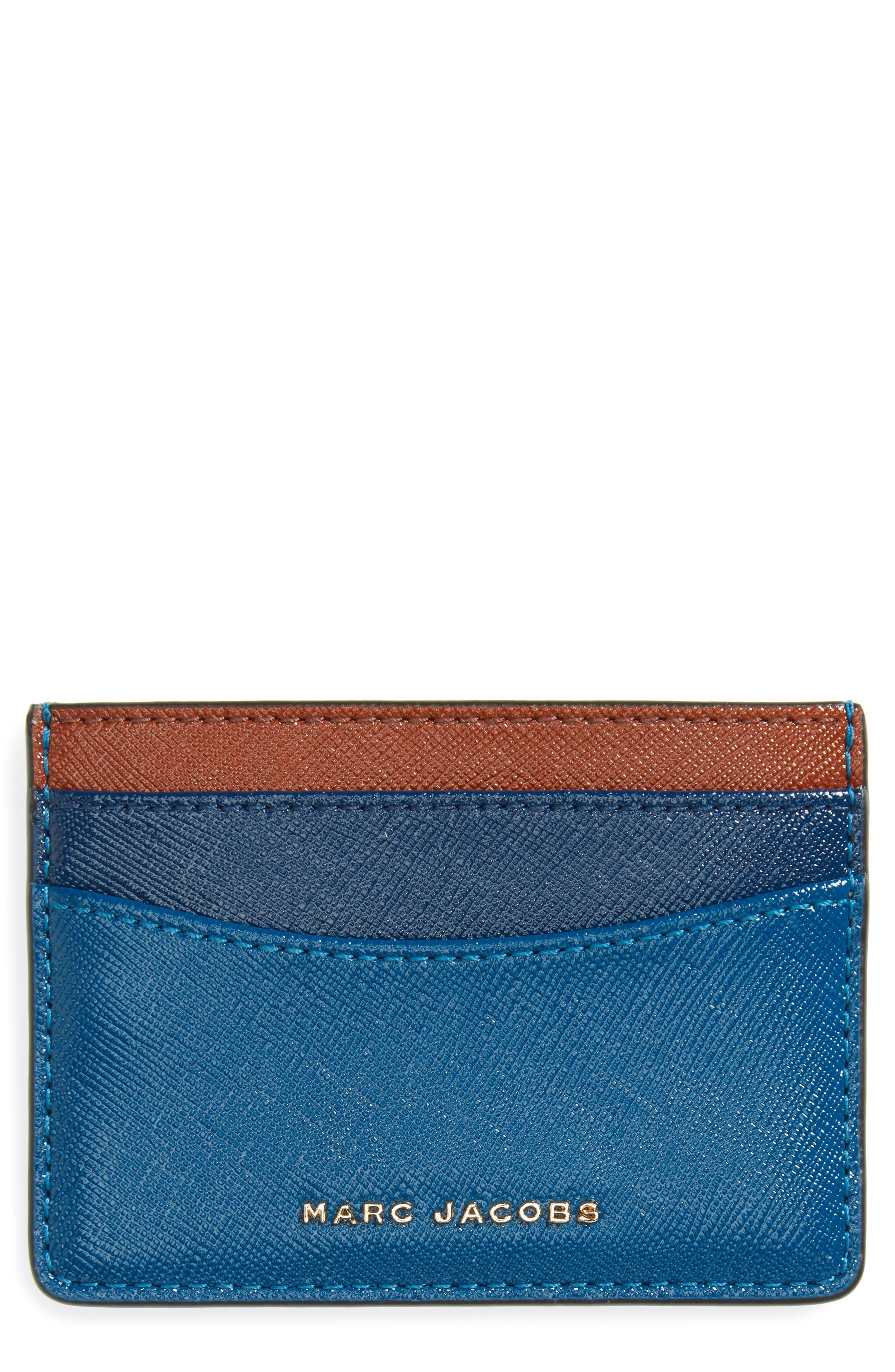 Color Block Saffiano Leather Card Case,                         Main,                         color, Bright Teal Multi