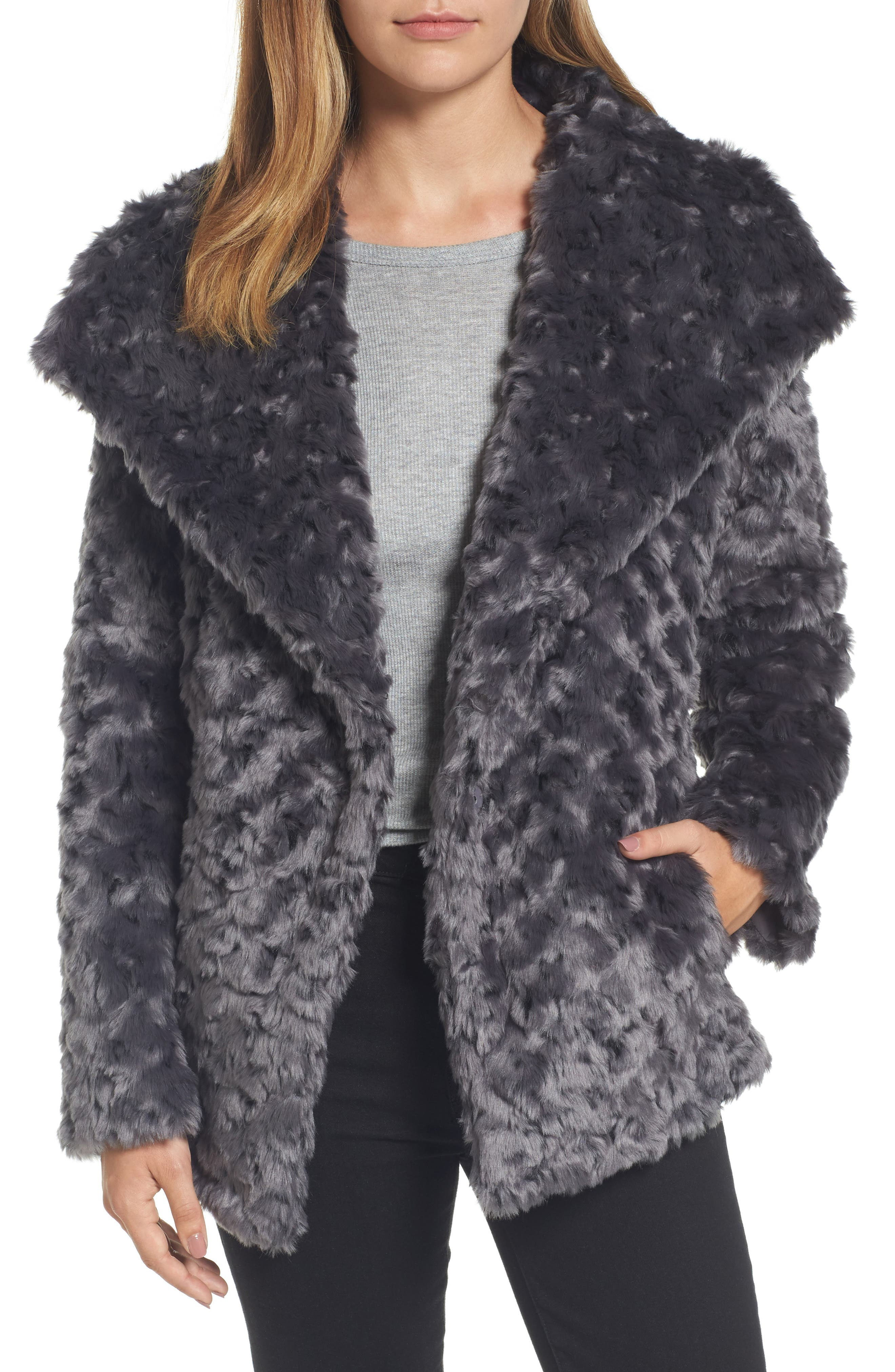 Roslyn Faux Fur Jacket,                             Main thumbnail 1, color,                             French Grey