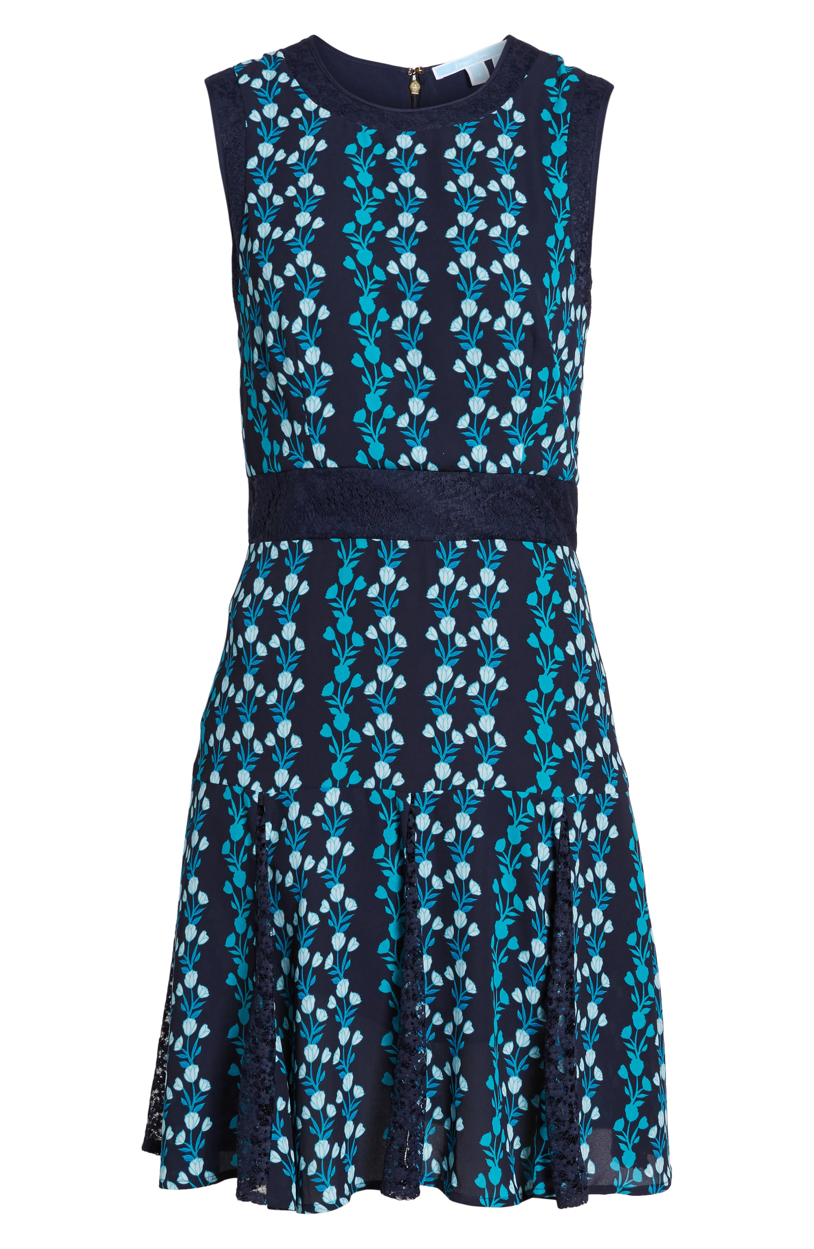 Meadow Vines Lace Dress,                             Alternate thumbnail 6, color,                             Nassau Navy Multi