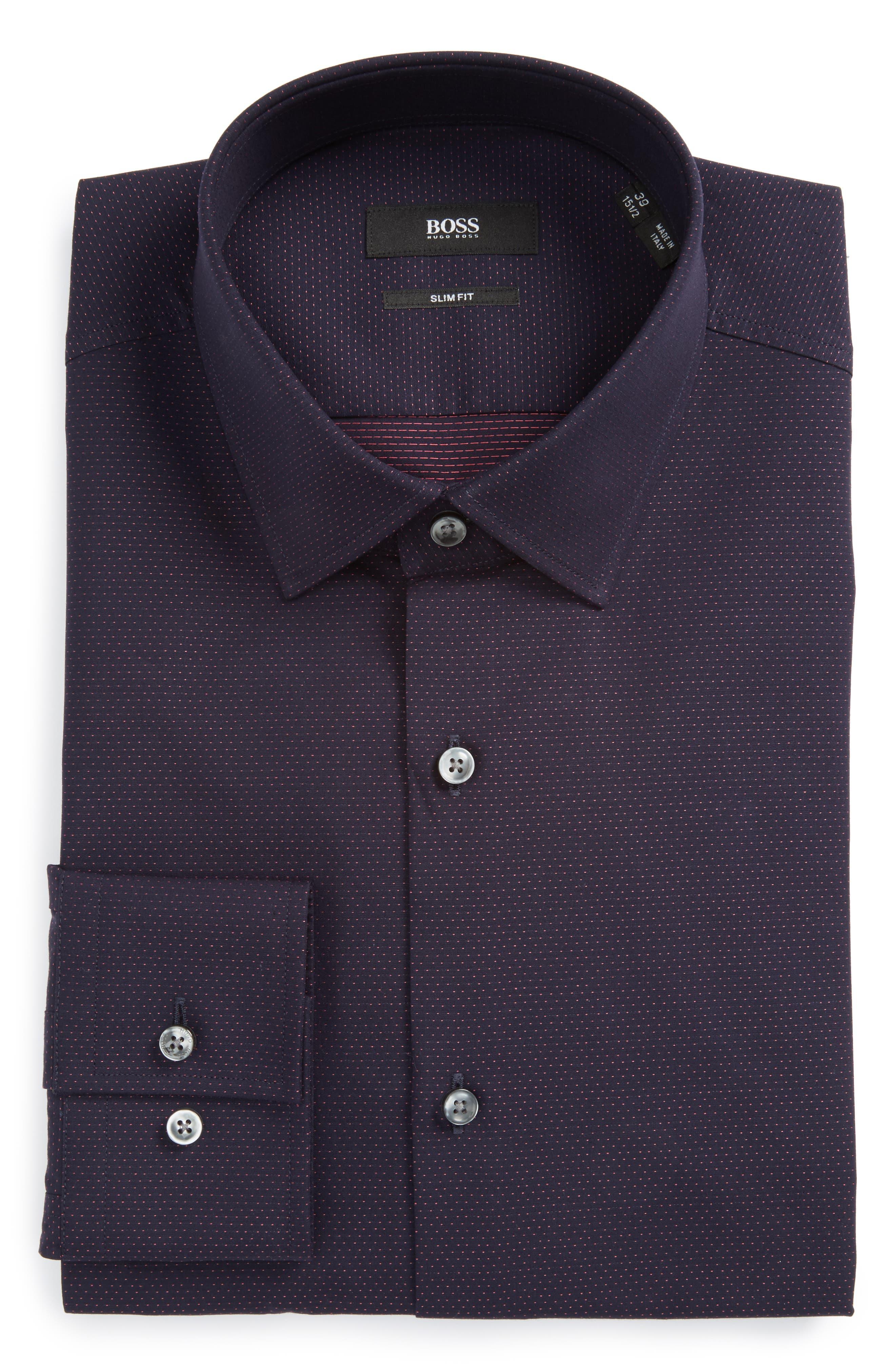Main Image - BOSS Jenno Slim Fit Dot Dress Shirt