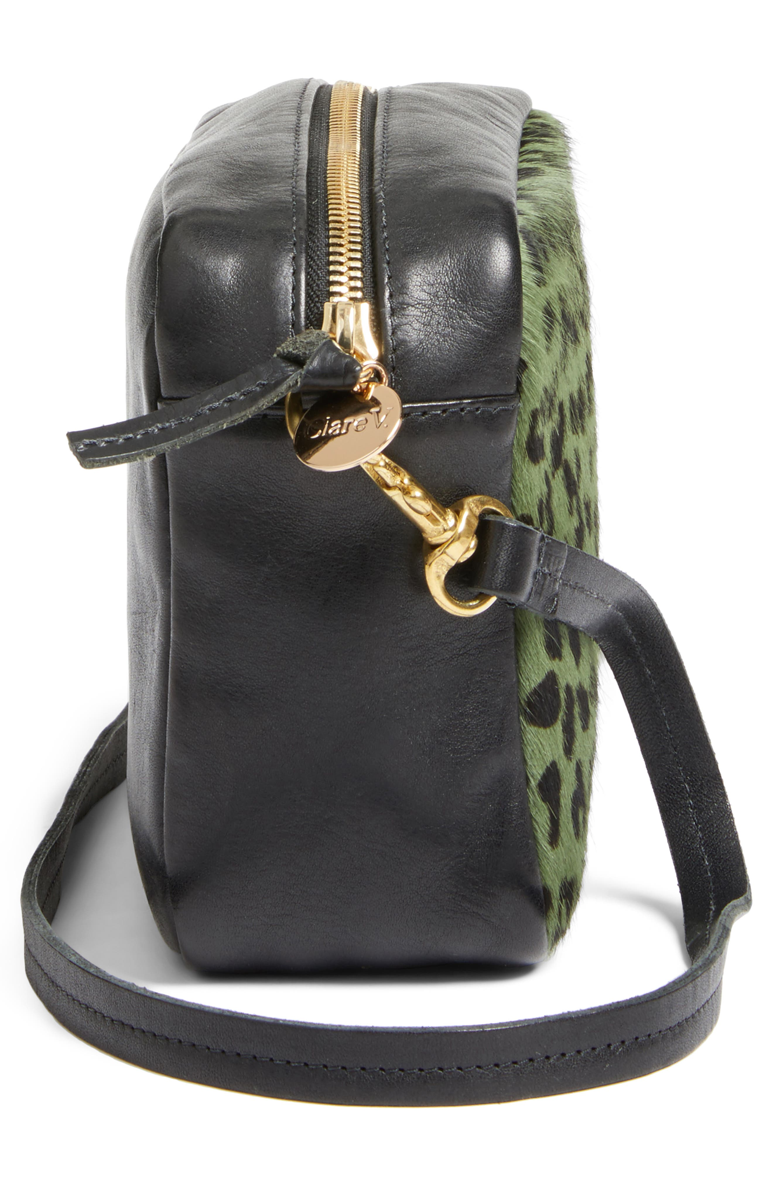 Midi Sac Leather & Genuine Calf Hair Shoulder Bag,                             Alternate thumbnail 5, color,                             Agave Leopard