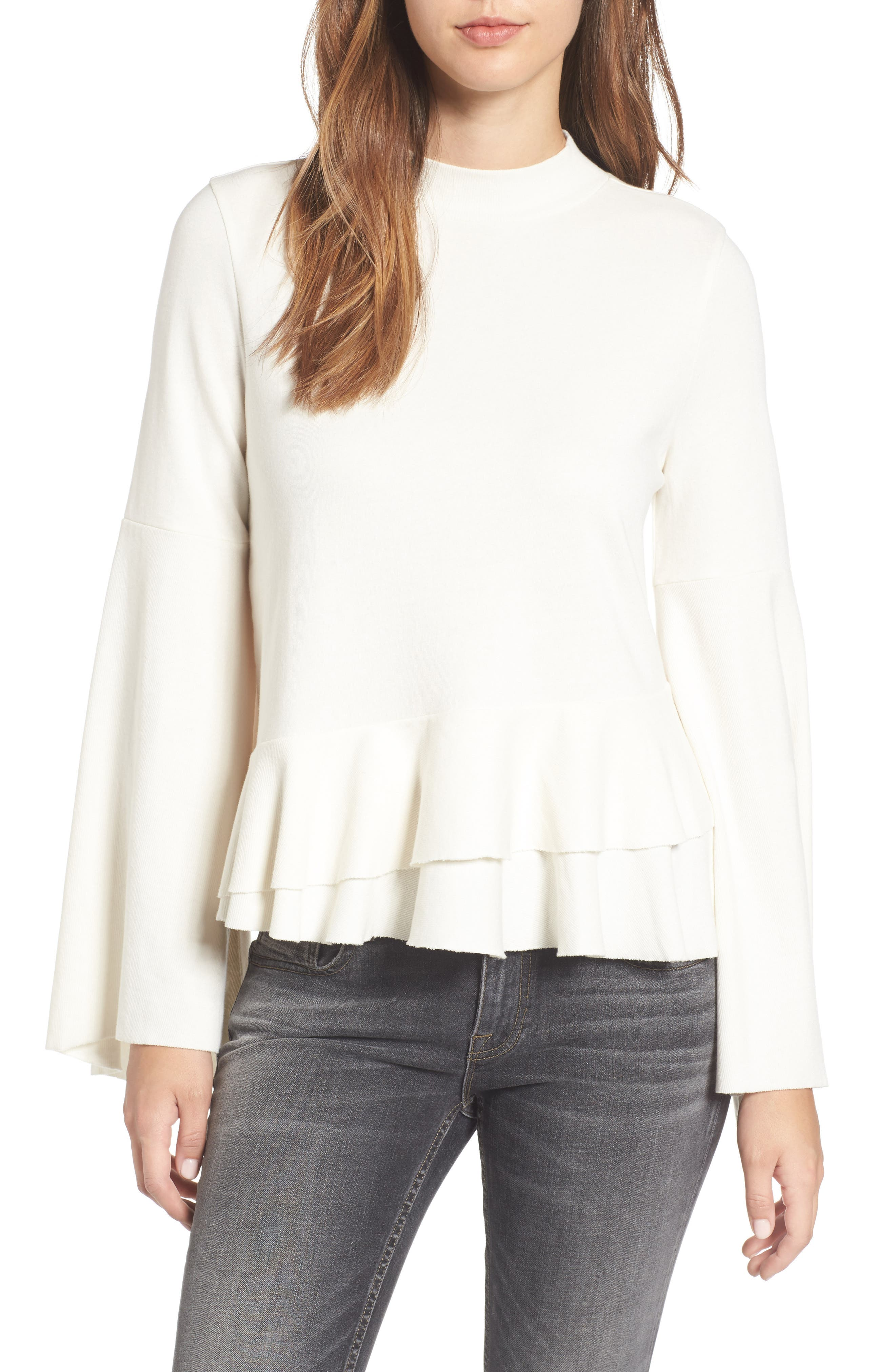 Ruffle Hem Bell Sleeve Top,                         Main,                         color, Ivory Egret