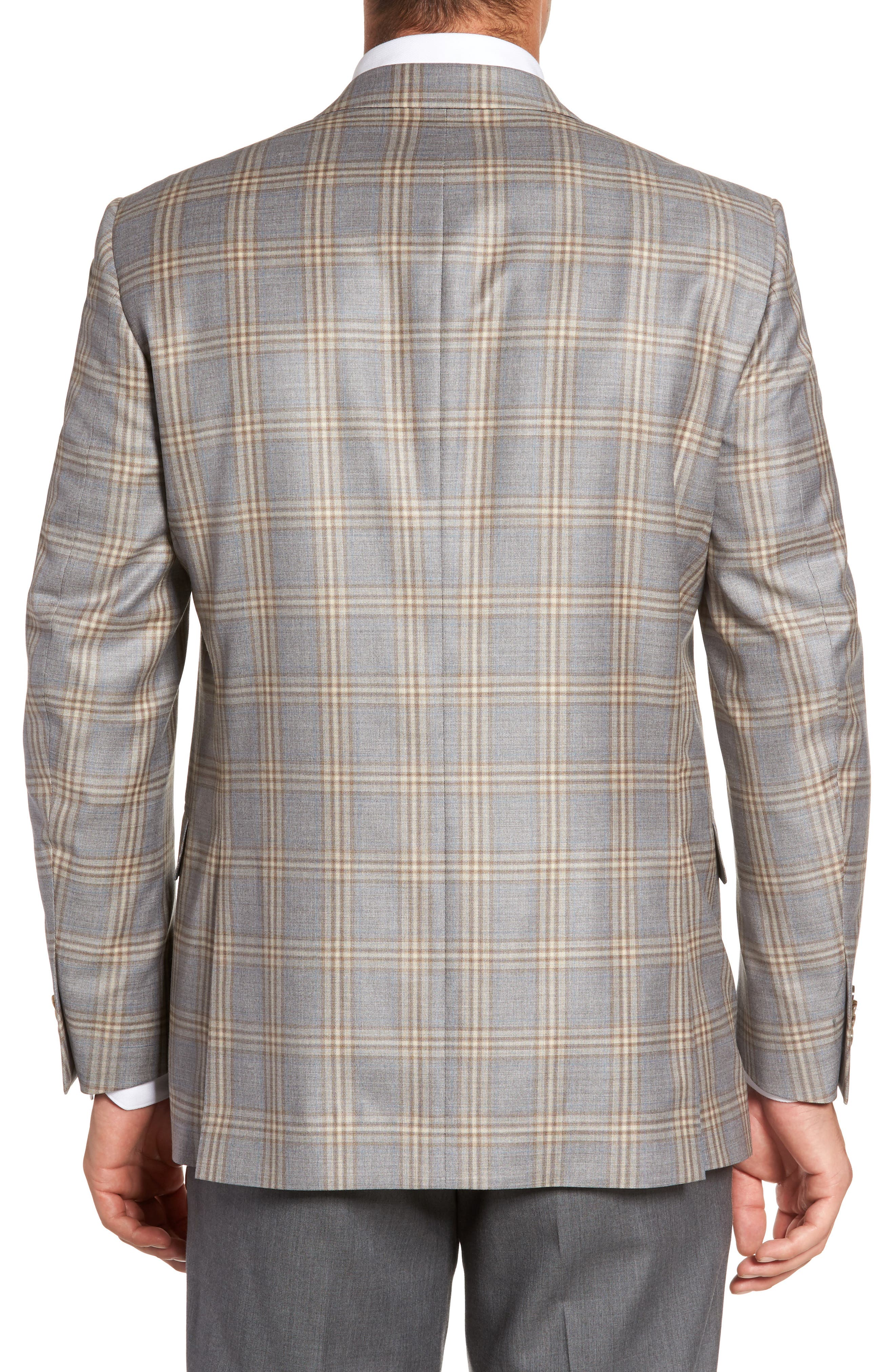 Flynn Classic Fit Plaid Wool Sport Coat,                             Alternate thumbnail 2, color,                             Grey