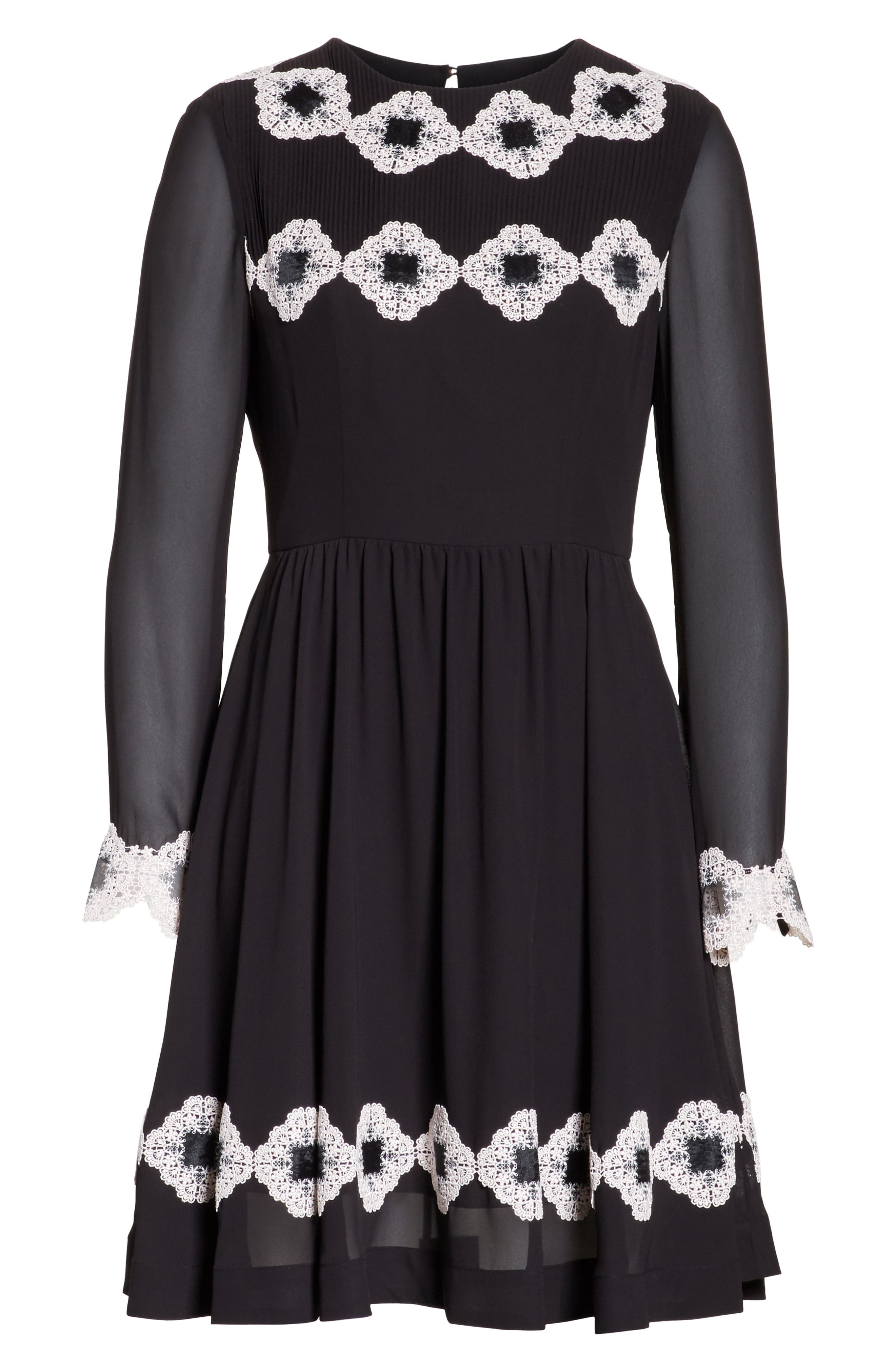Avianah Lace Trim Fit & Flare Dress,                             Alternate thumbnail 6, color,                             Black