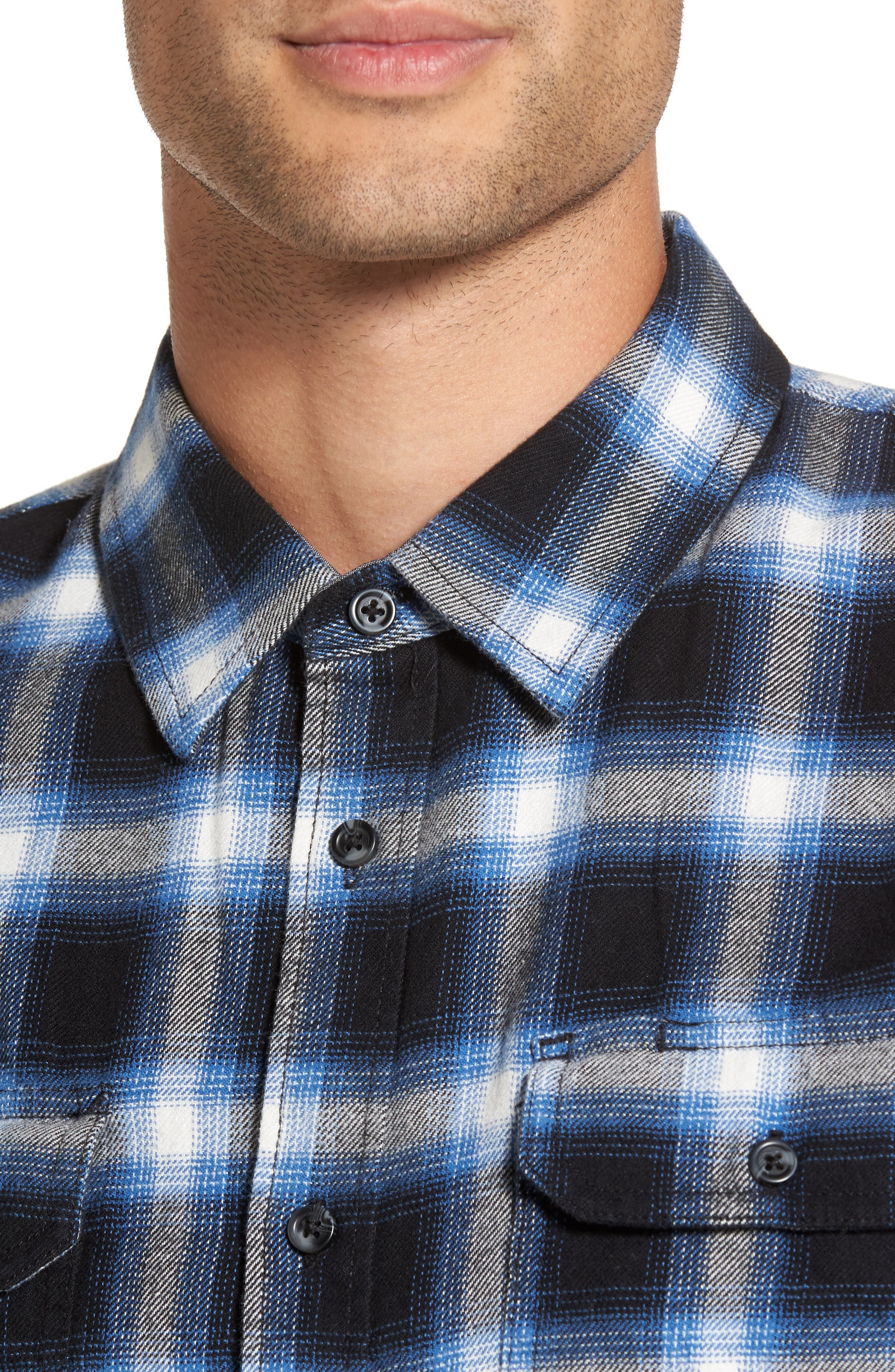 Beachwood Flannel Shirt,                             Alternate thumbnail 4, color,                             Black/ Delft