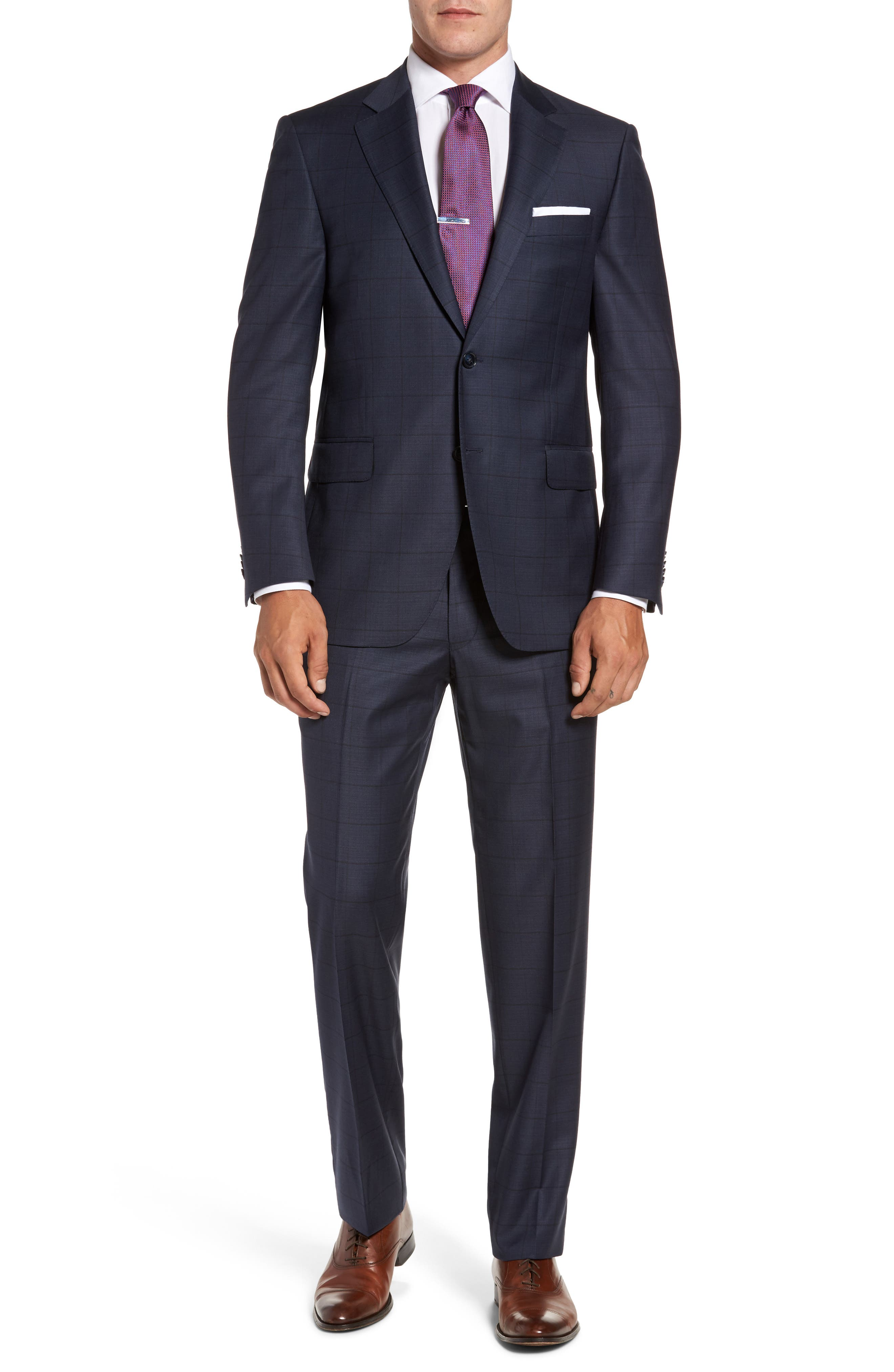Flynn Classic Fit Windowpane Wool Suit,                         Main,                         color, Navy