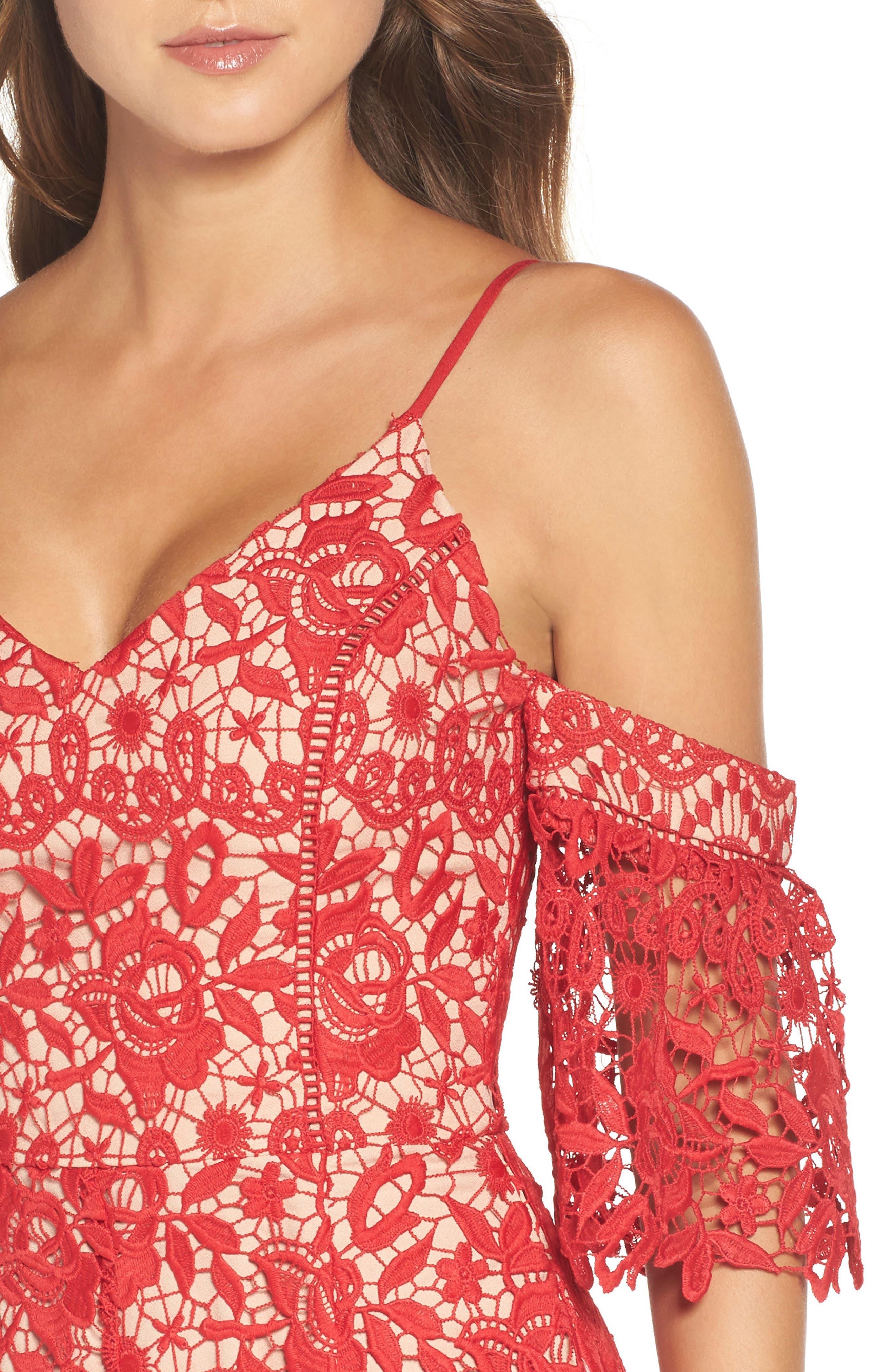 Alternate Image 4  - Adelyn Rae Krista Cold Shoulder Lace Sheath Dress