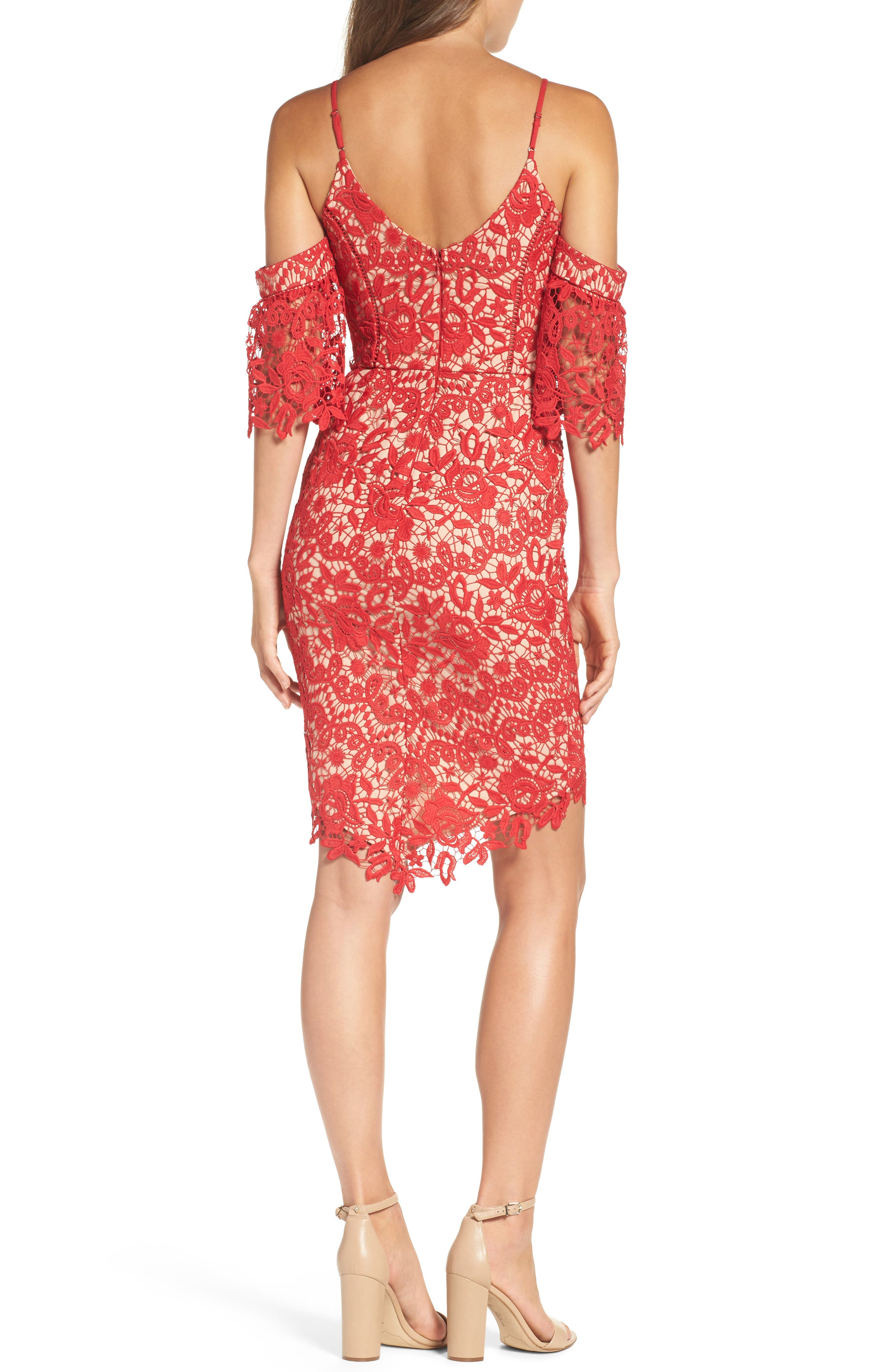 Krista Cold Shoulder Lace Sheath Dress,                             Alternate thumbnail 2, color,                             Red/ Nude