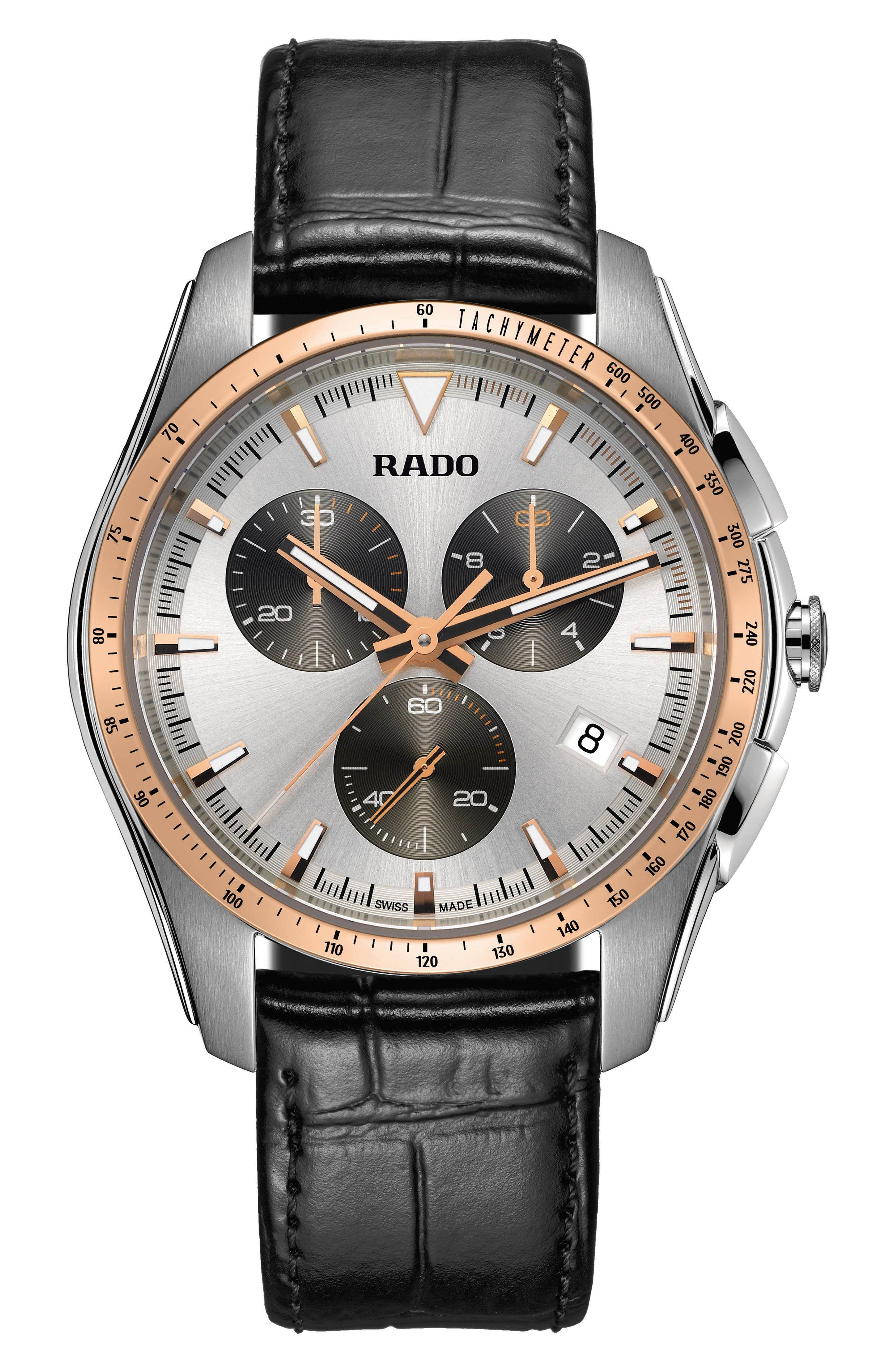 RADO HyperChrome Chronograph Leather Strap Watch, 44.9mm
