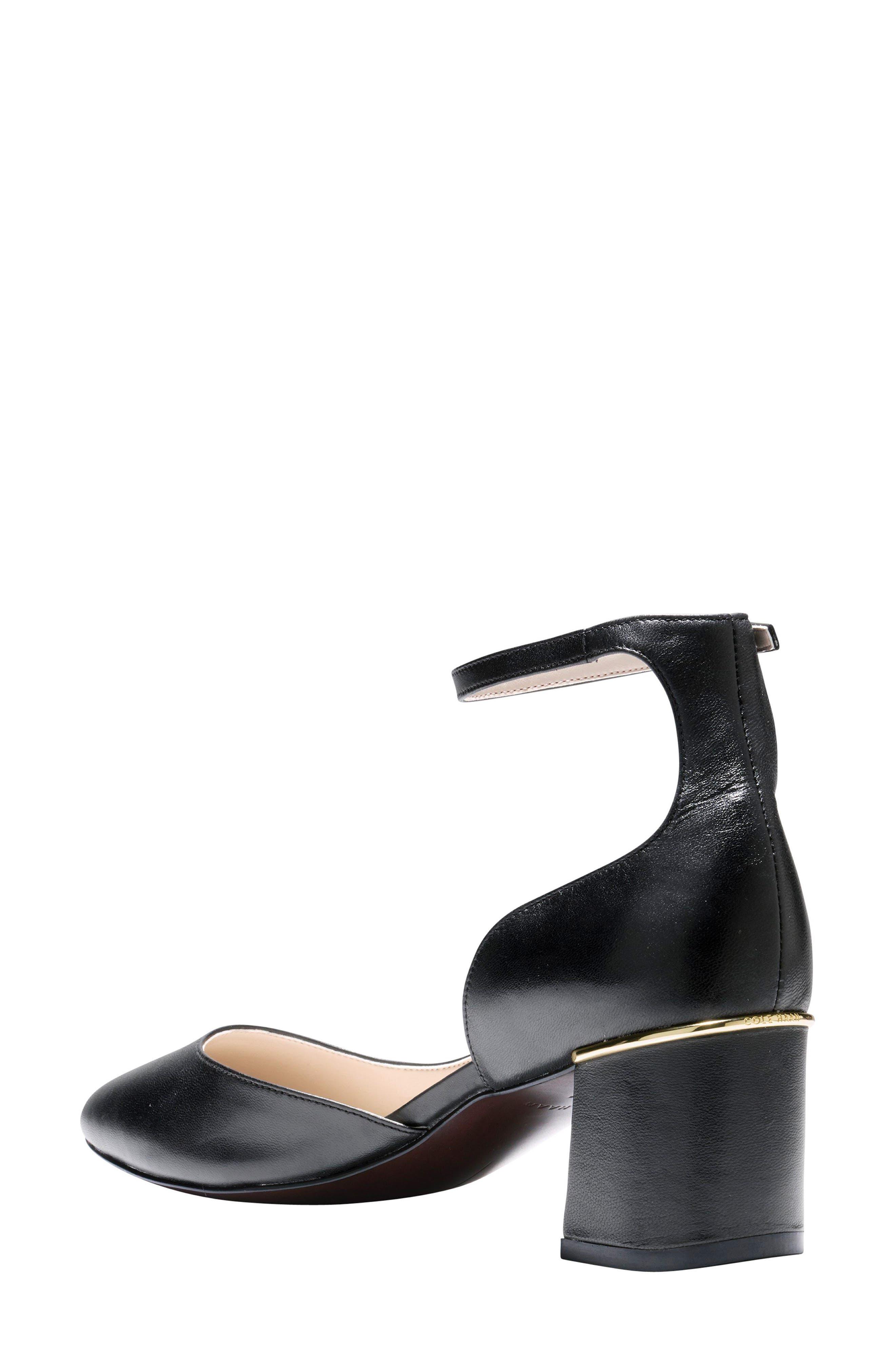 Warner Ankle Strap Pump,                             Alternate thumbnail 2, color,                             Black Leather