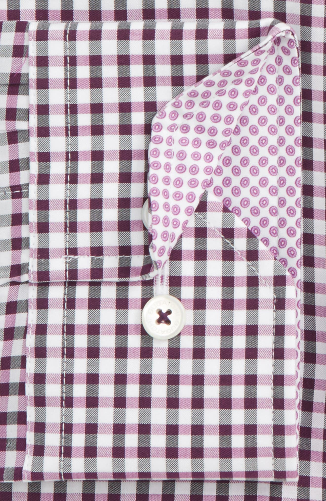 Trim Fit Check Dress Shirt,                             Alternate thumbnail 2, color,                             Plum